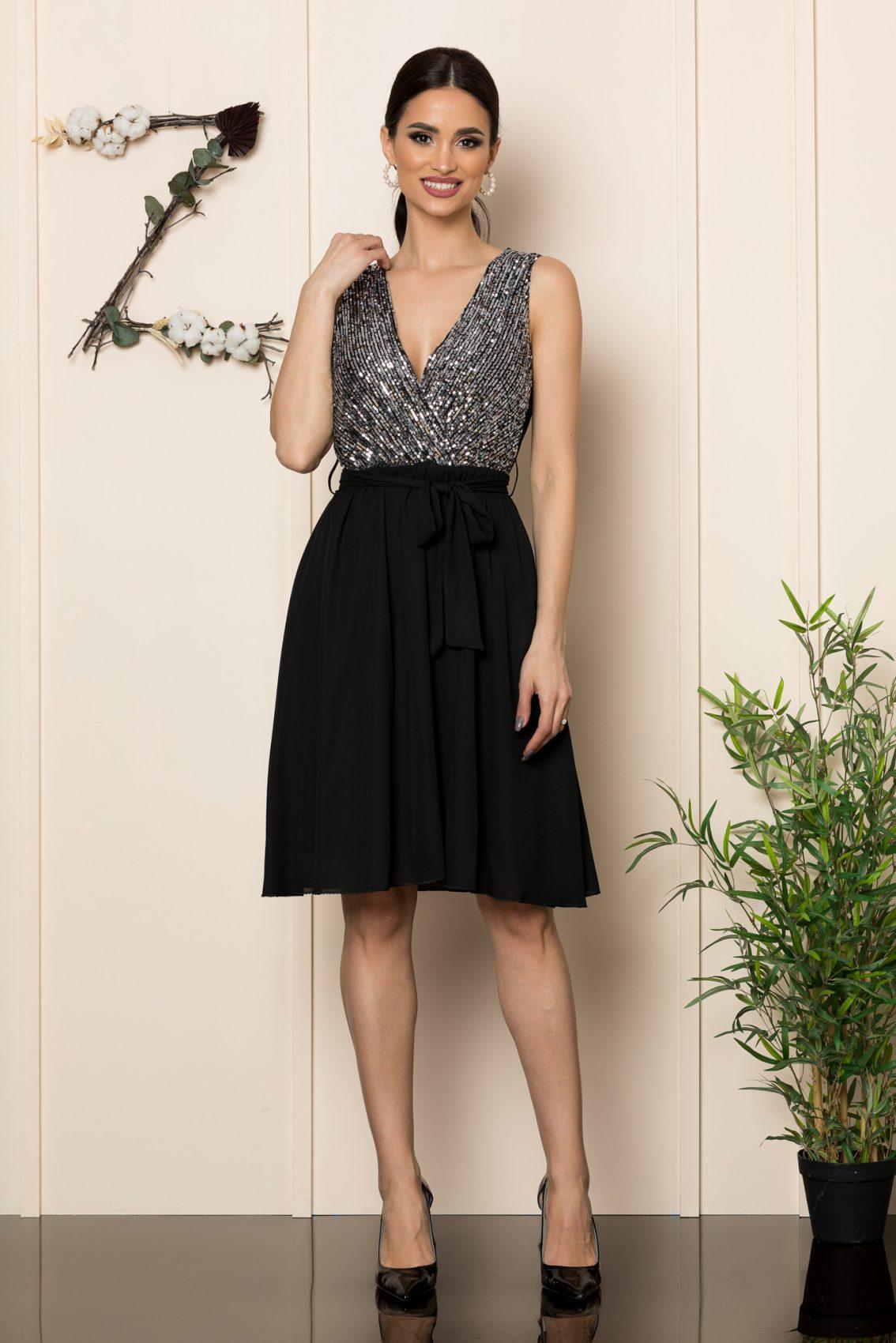 Μαύρο Μίντι Κρουαζέ Φόρεμα Loriss 1086 1