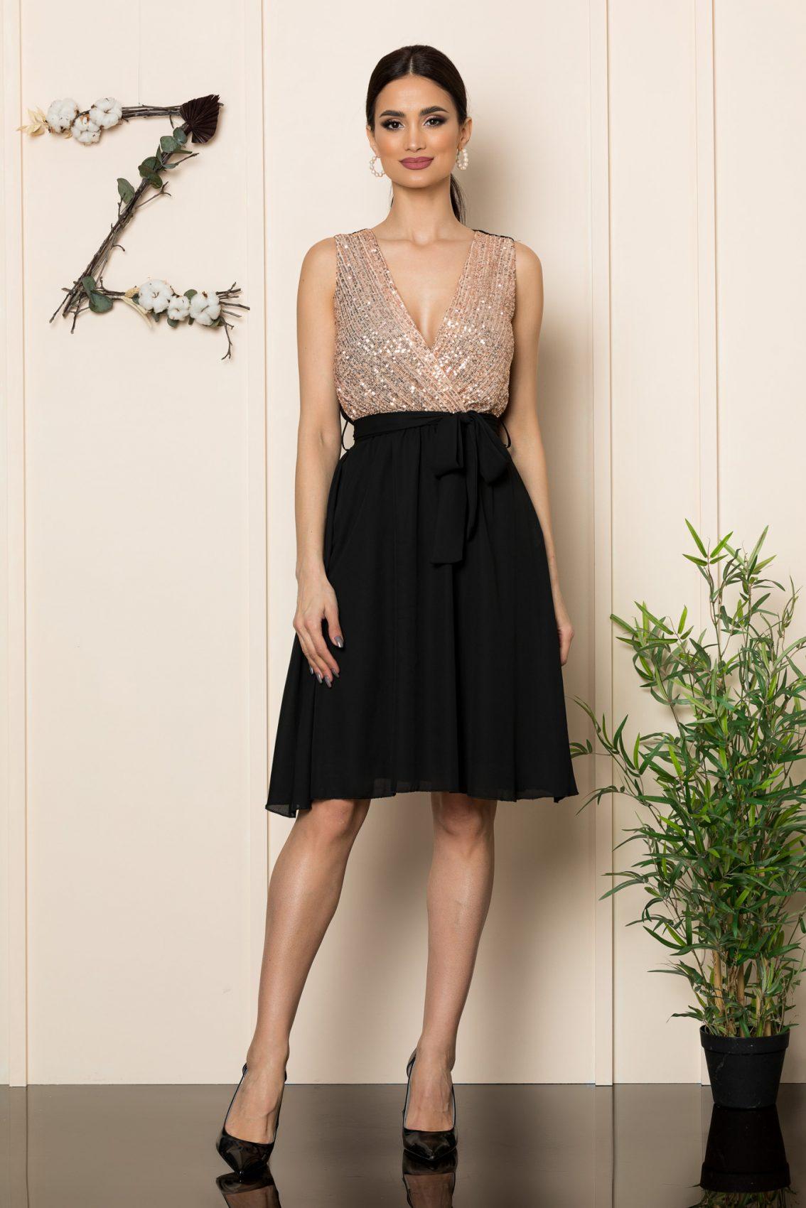 Μαύρο Κρουαζέ Μίντι Φόρεμα Loriss 1087 1