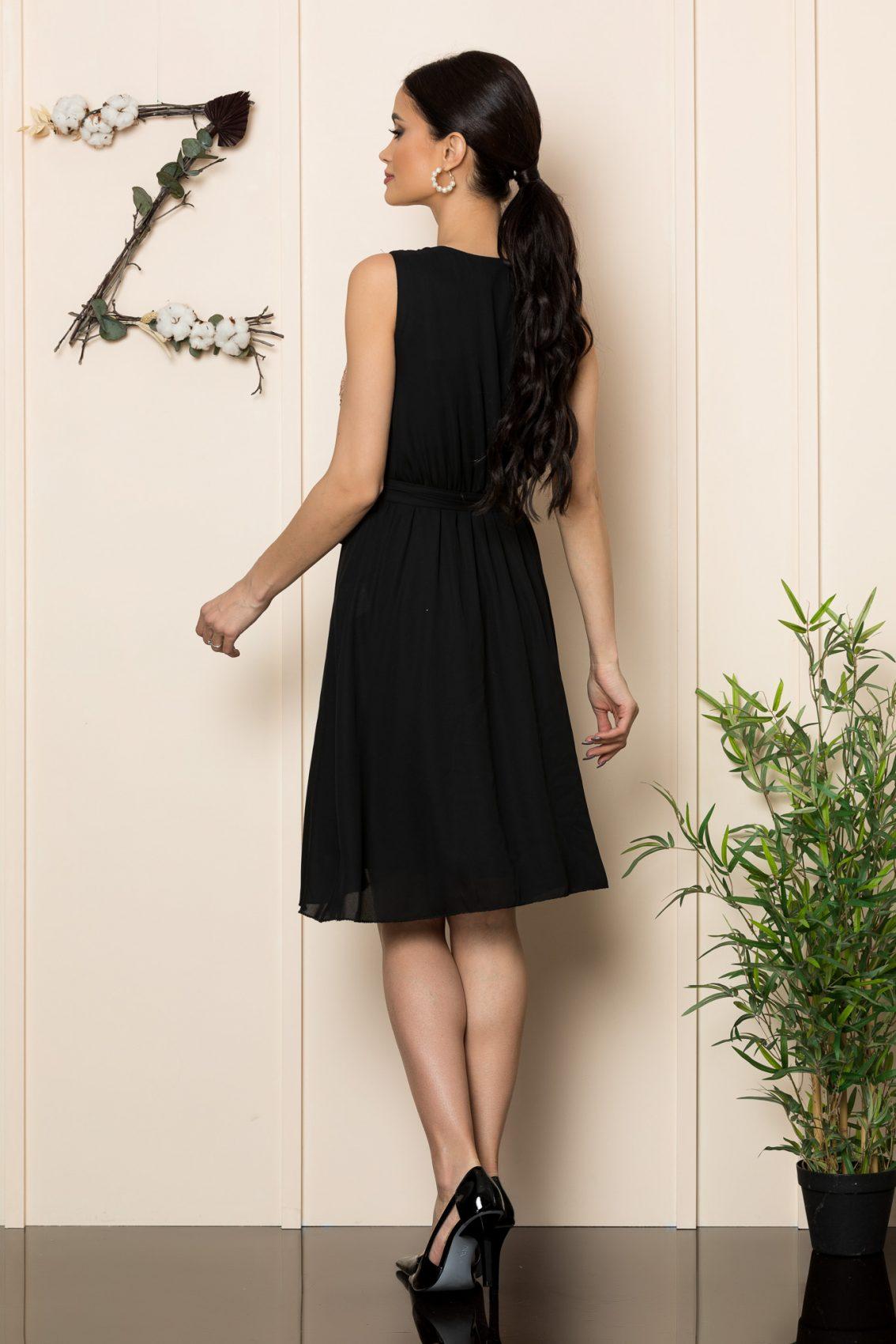 Μαύρο Κρουαζέ Μίντι Φόρεμα Loriss 1087 2