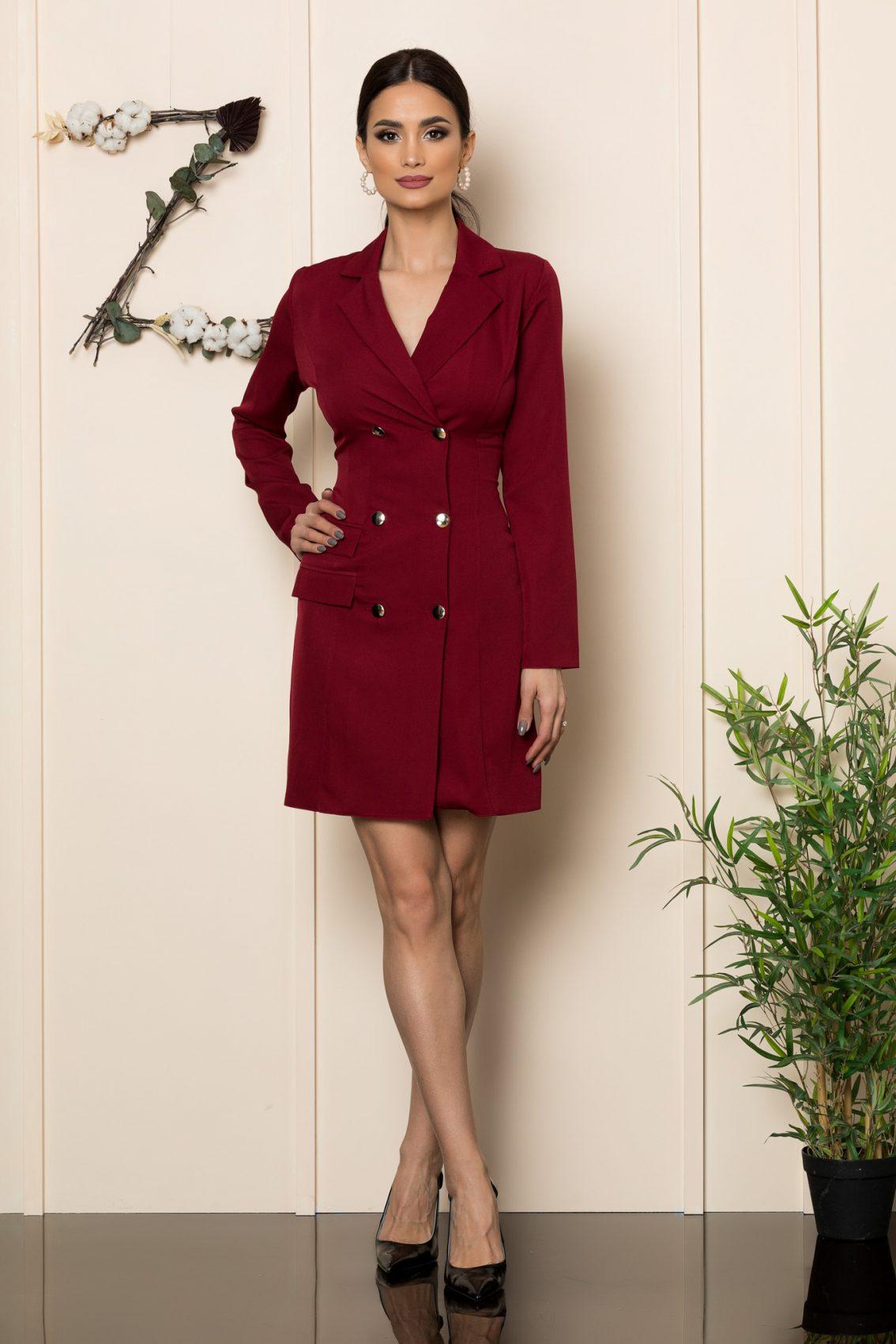 Μπορντό Φόρεμα Με Κουμπιά Silvy 1082 1
