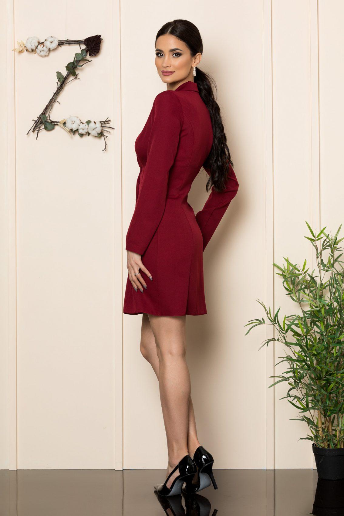 Μπορντό Φόρεμα Με Κουμπιά Silvy 1082 2