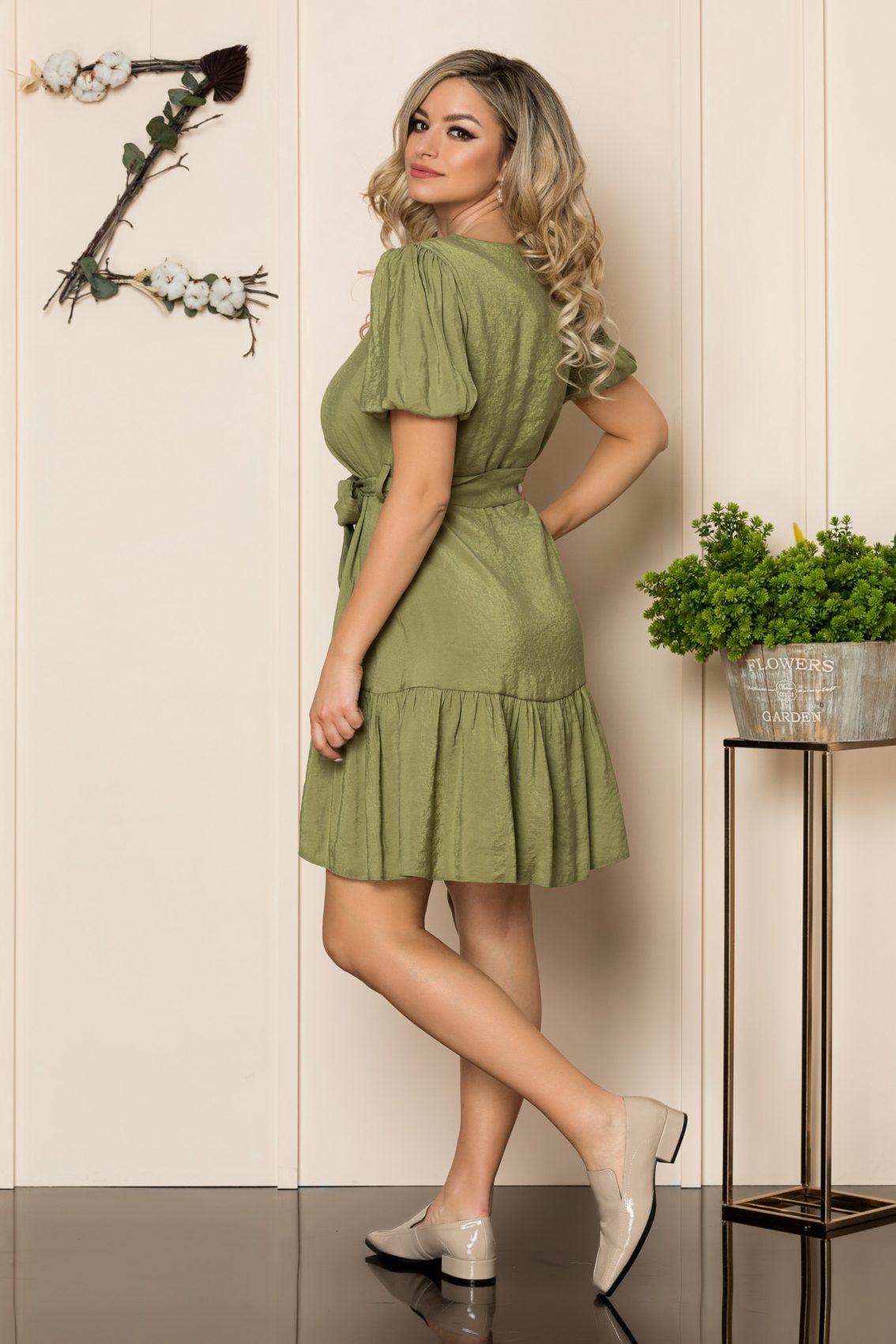 Χακί Φόρεμα Με Βολάν Anny 1036 2