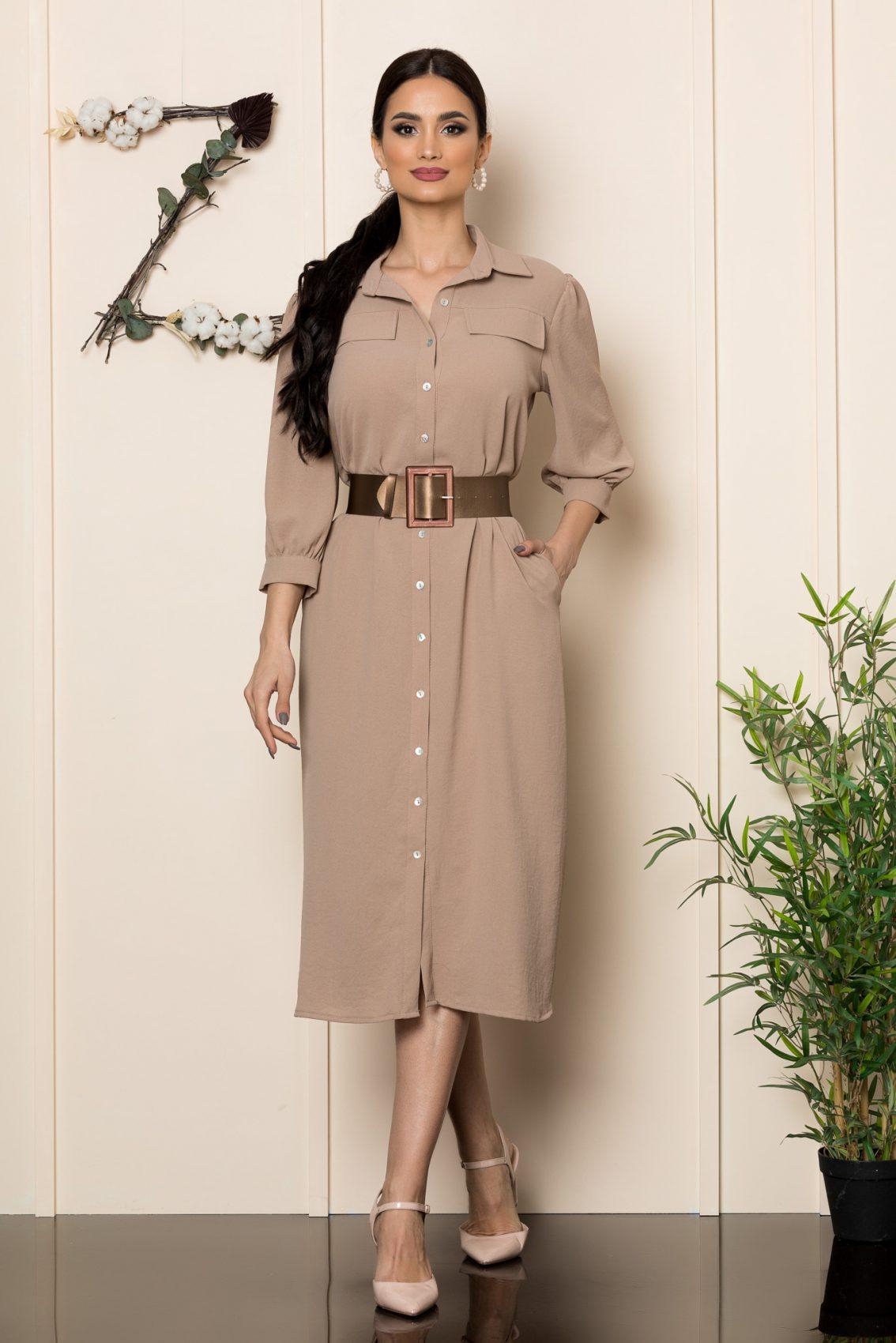 Μπεζ Σεμιζιέ Φόρεμα India 1124 1