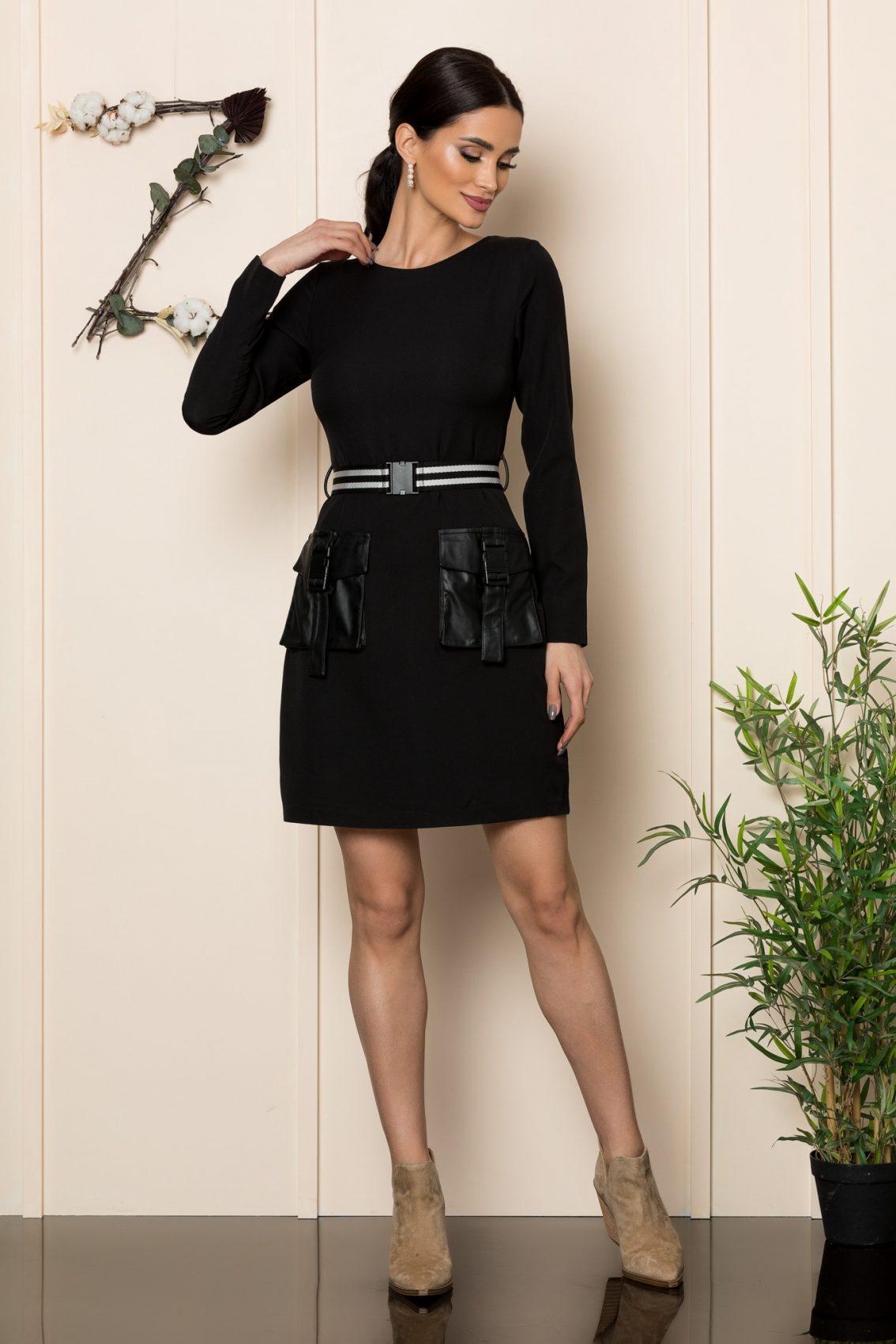 Μαύρο Φόρεμα Με Δερματίνη Keyra 9272 1