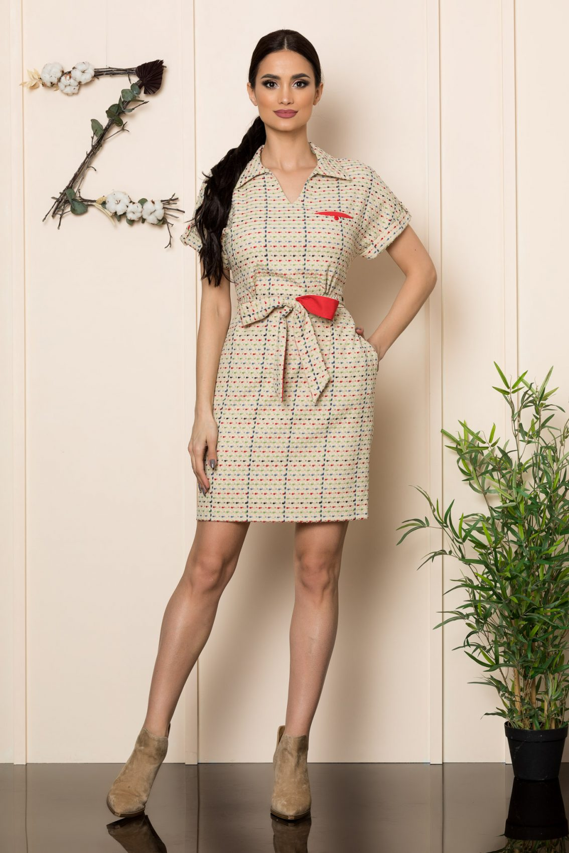 Μπεζ Καθημερινό Φόρεμα Janelle 9874 1