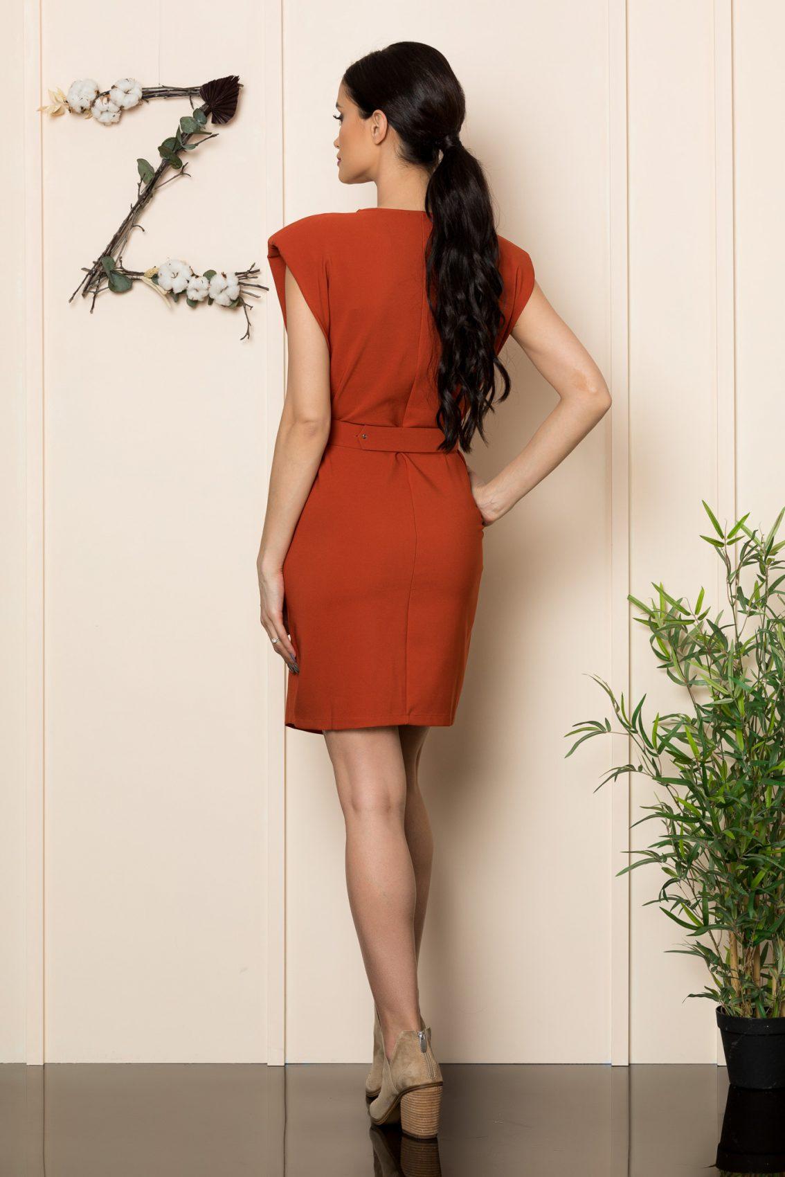 Κεραμιδί Φόρεμα Με Βάτες Tulya 8148 2