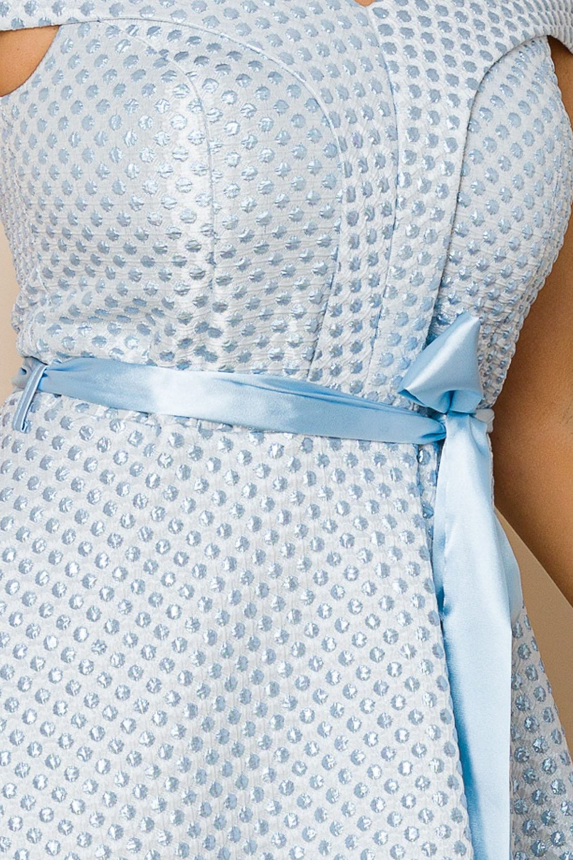 Γαλάζιο Μίντι Αμπιγιέ Φόρεμα Delicia A143 3