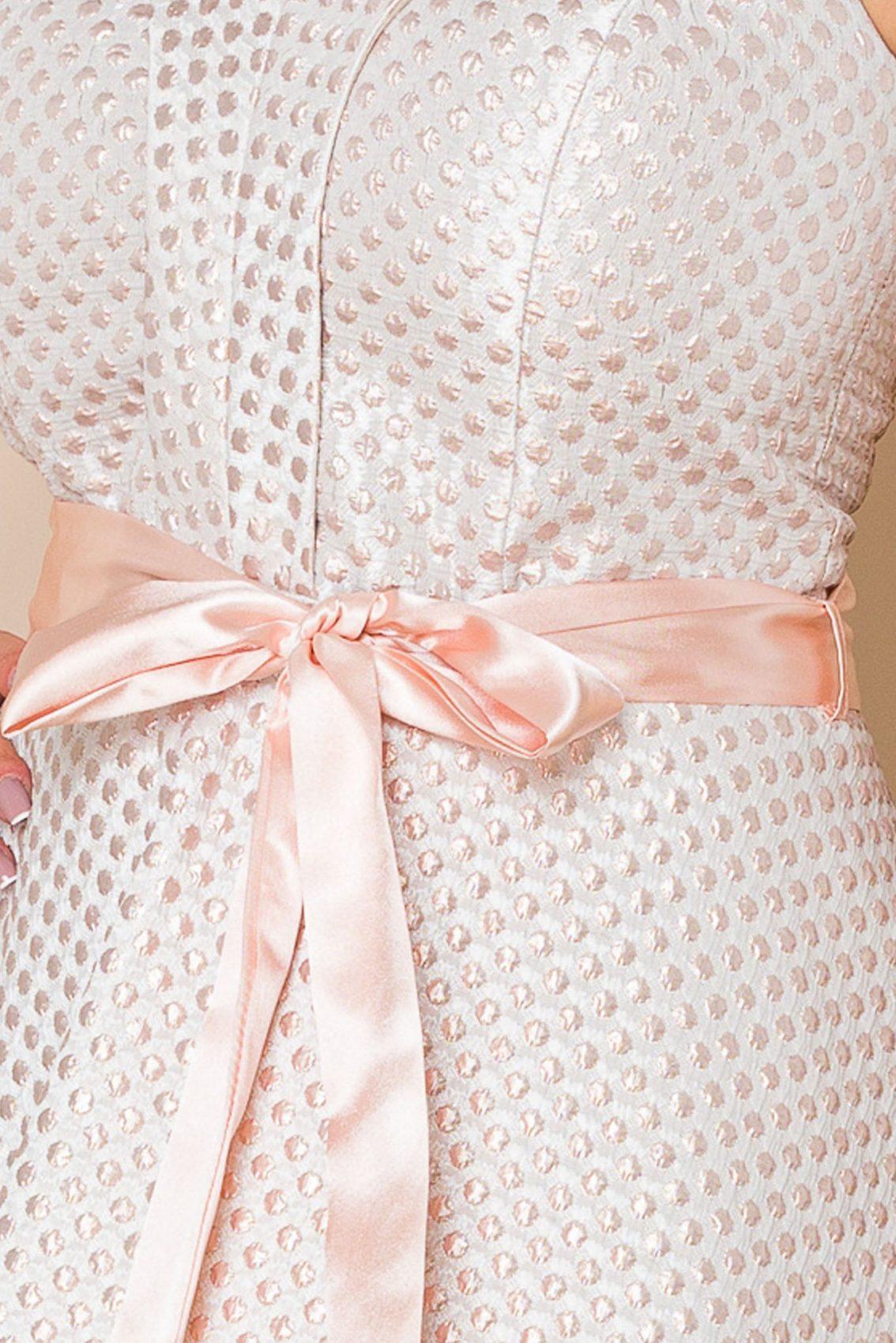 Ροδακινί Μίντι Αμπιγιέ Φόρεμα Delicia A144 3