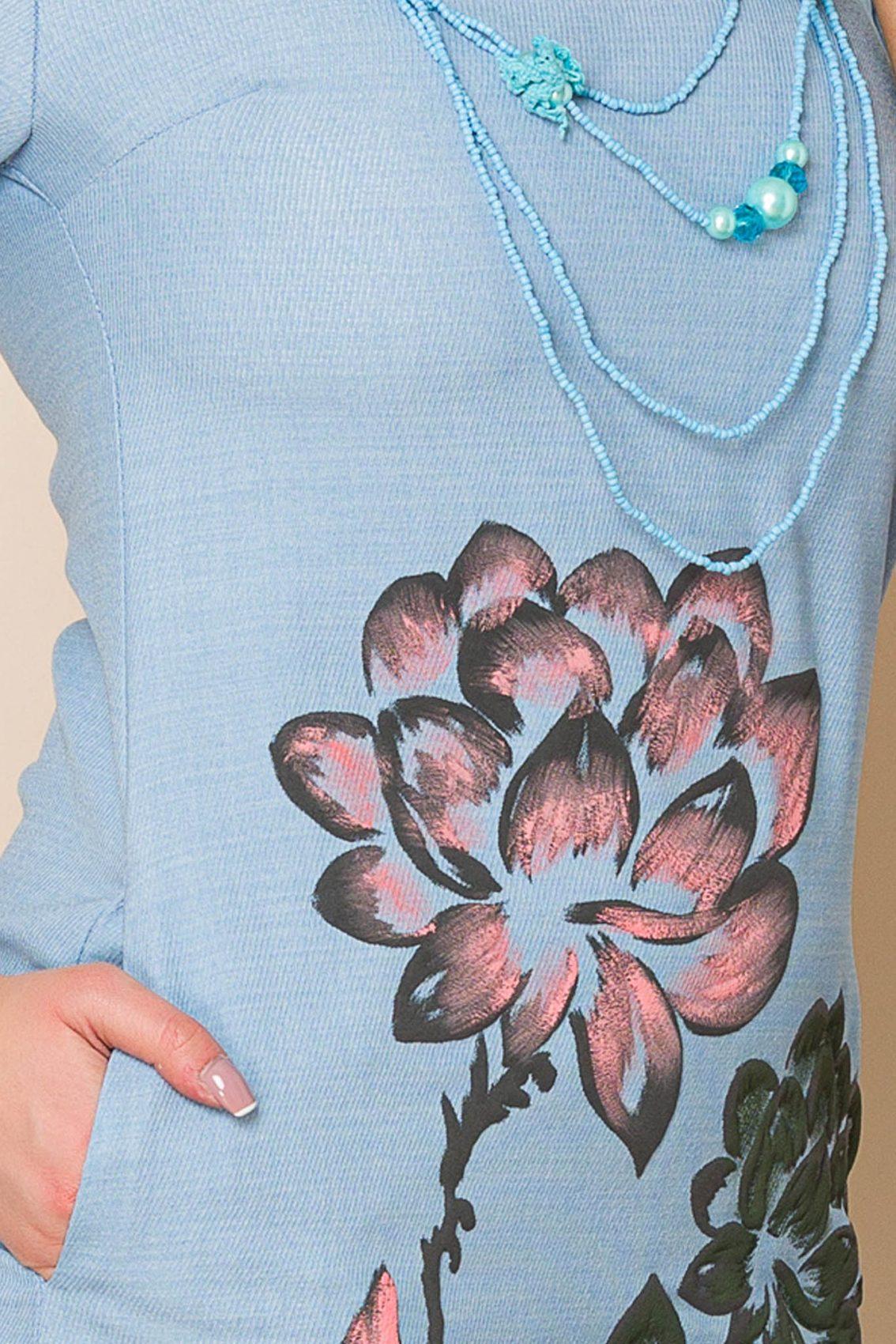 Γαλάζιο Μίνι Φόρεμα Με Κολιέ Mona A129 3