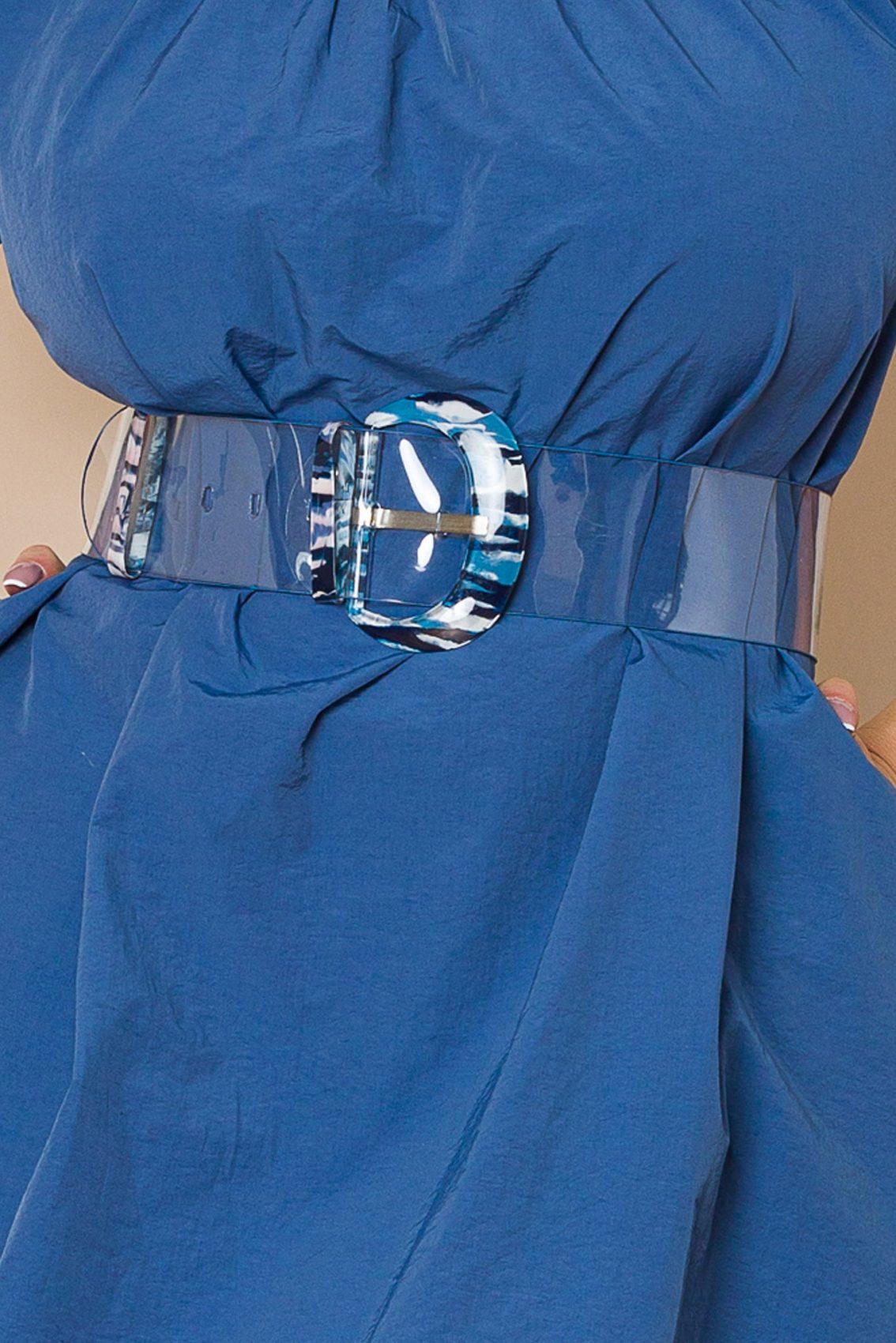 Μπλε Φόρεμα Με Φουσκωτά Μανίκια Larya A119 3