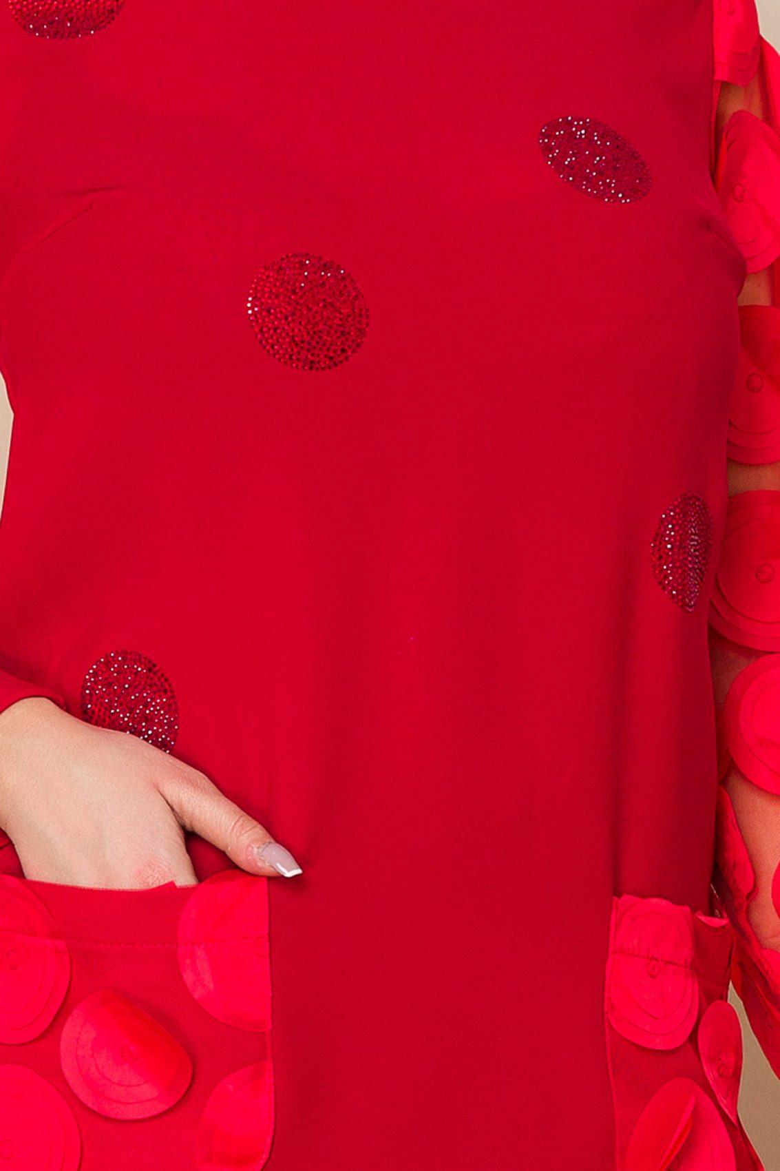 Κόκκινο Μίνι Πουά Φόρεμα Sorana A170 3