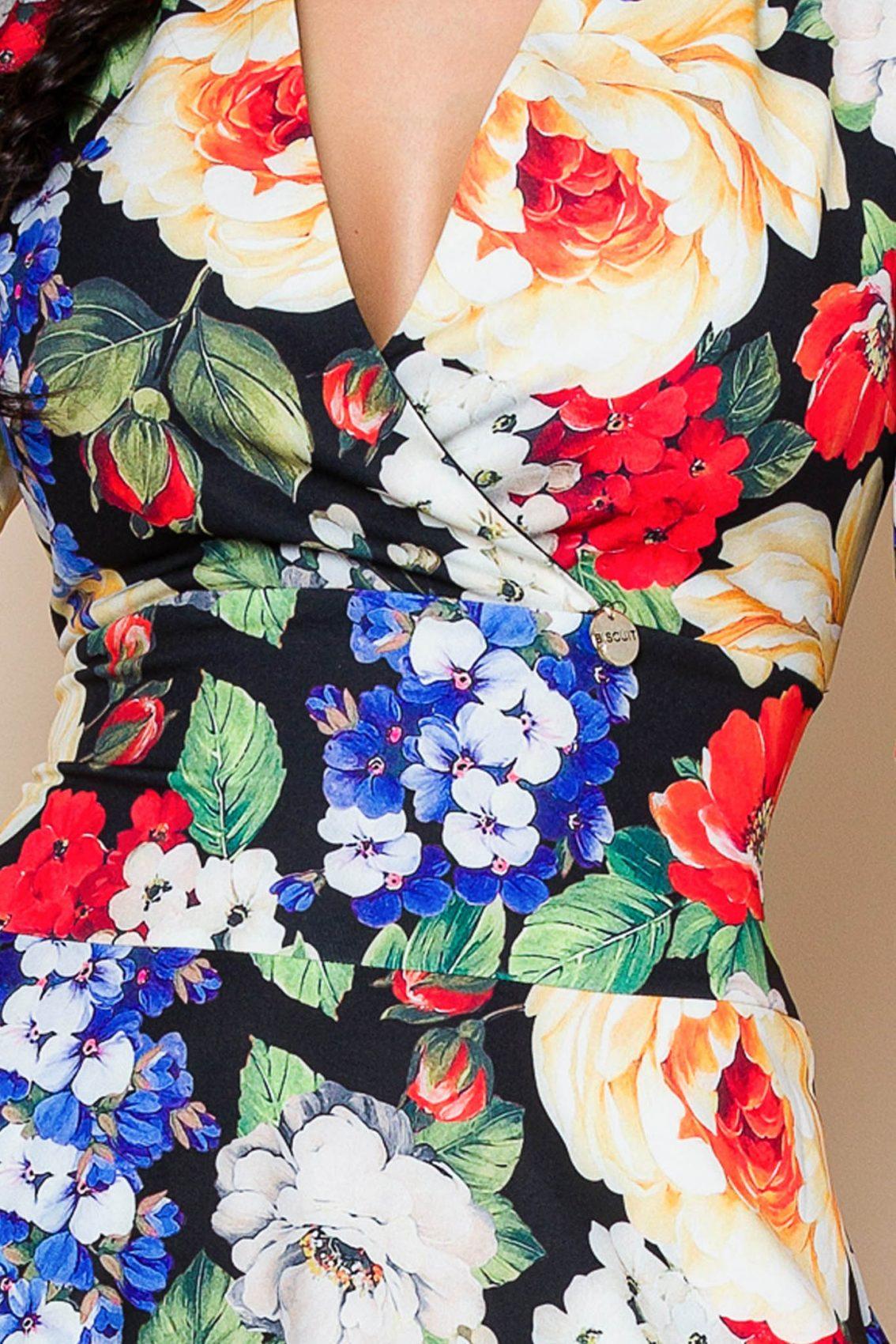 Floral Φόρεμα Με Φουσκωτό Μανίκι Renee 8016 3