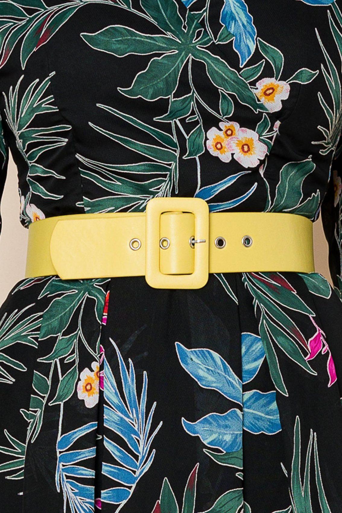 Μαύρο Φόρεμα Με Κίτρινη Ζώνη Sara 8065 3