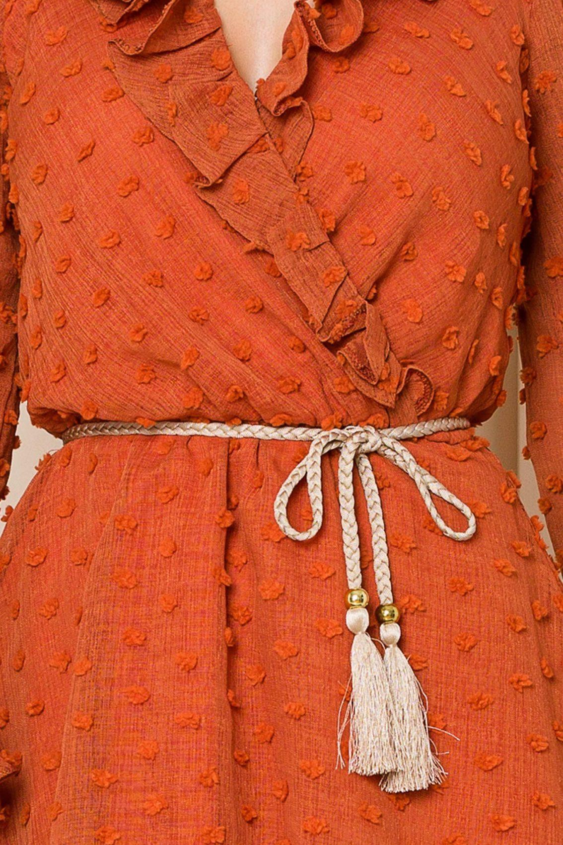Κεραμιδί Μίνι Φόρεμα Με Βολάν Willow 9809 3