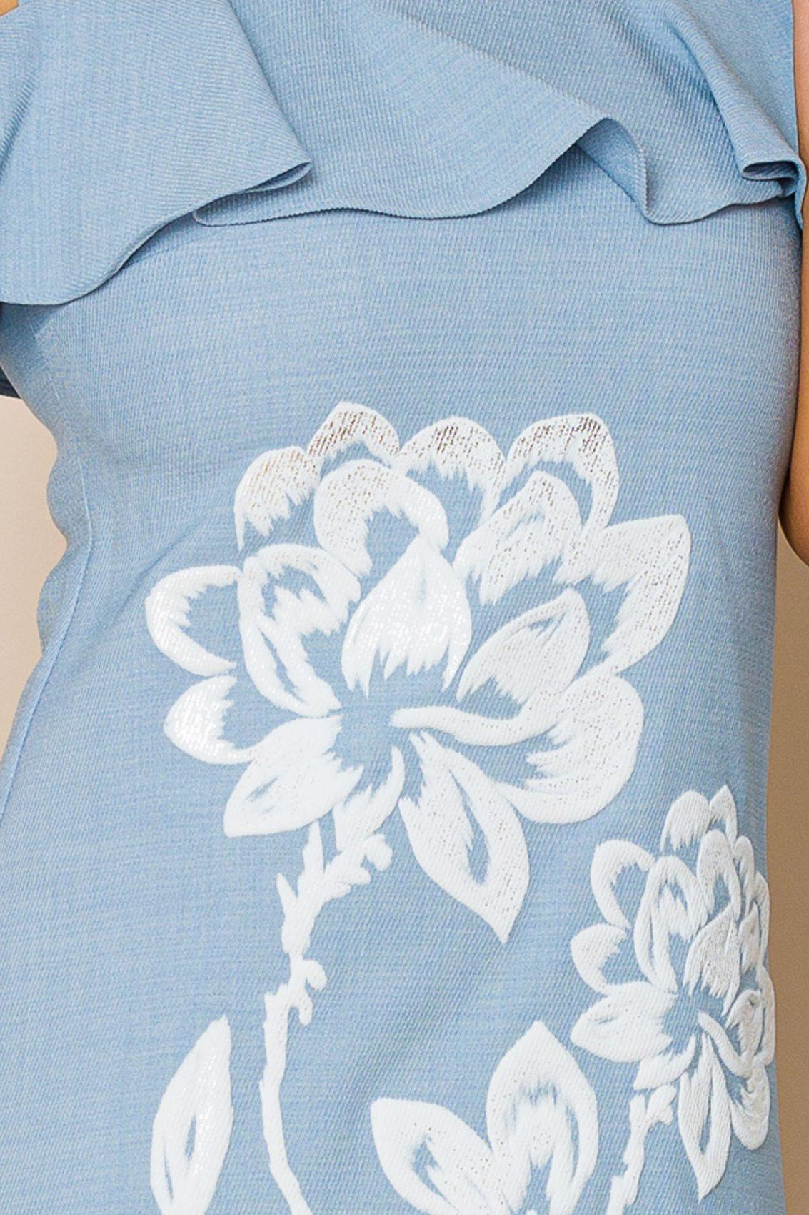 Μίνι Γαλάζιο Φόρεμα Με Βολάν Carol 9881 3