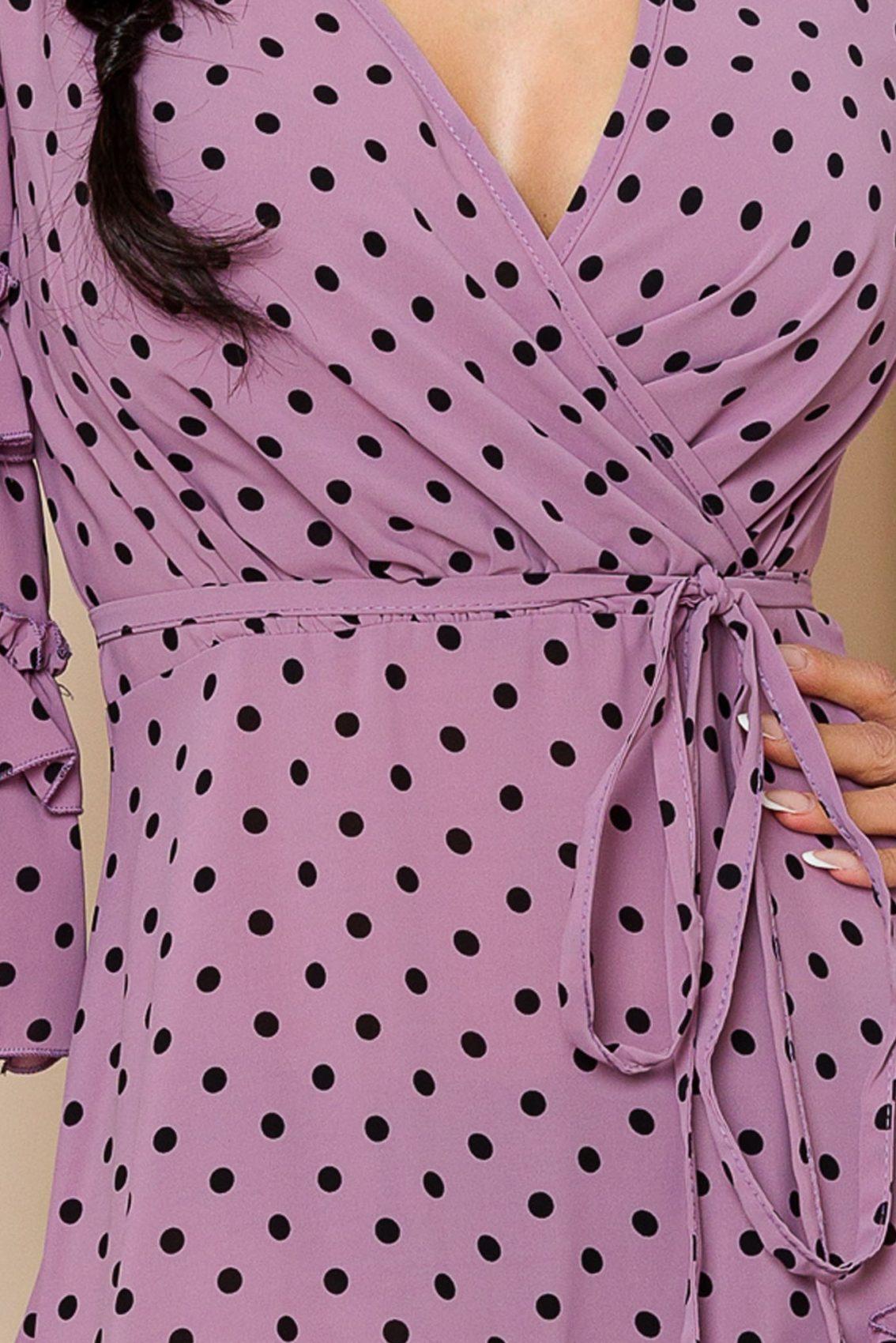 Λιλά Μίνι Πουά Φόρεμα Με Βολάν Eda 9817 3