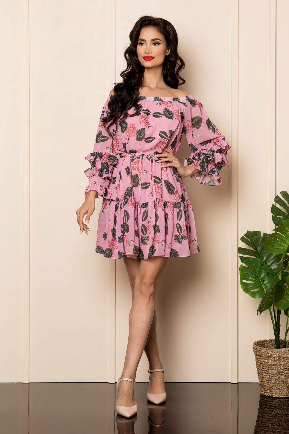Ροζ Φόρεμα Με Βολάν Jasmine A499 1