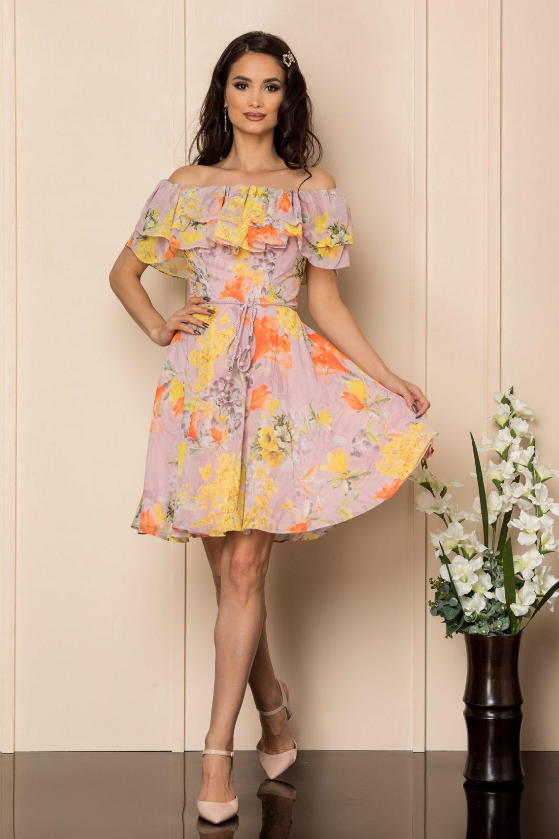 Κίτρινο Φλοράλ Φόρεμα Με Βολάν Jasmine A421 1