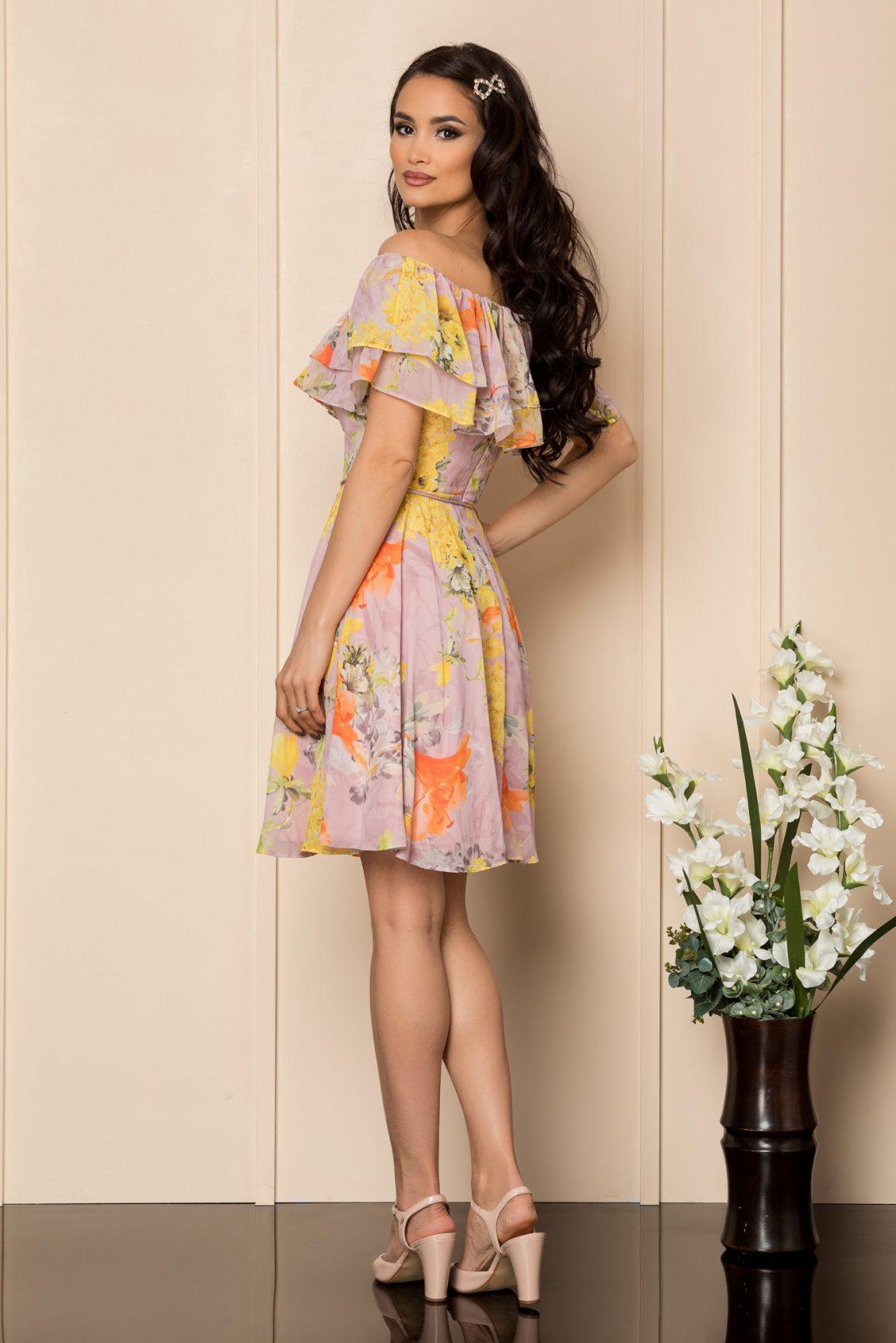 Κίτρινο Φλοράλ Φόρεμα Με Βολάν Jasmine A421 2