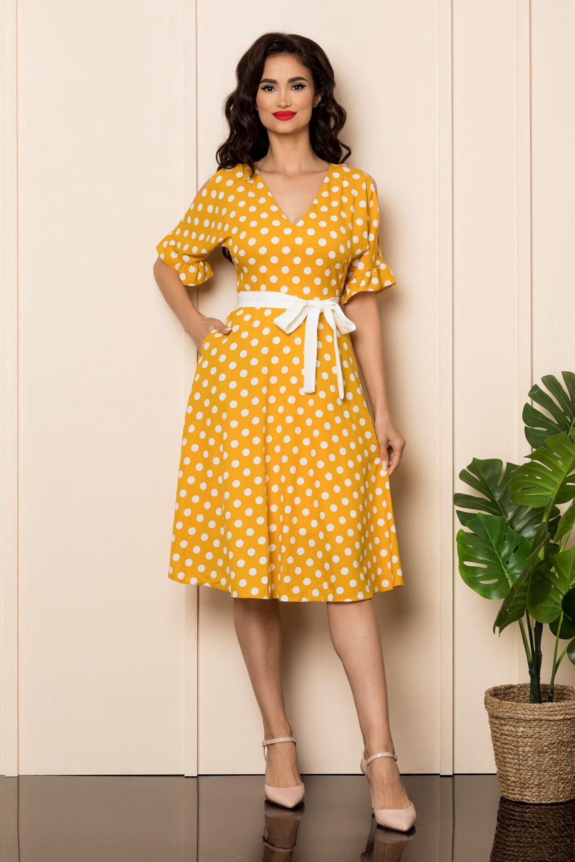 Κίτρινο Πουά Φόρεμα Eden A465 1
