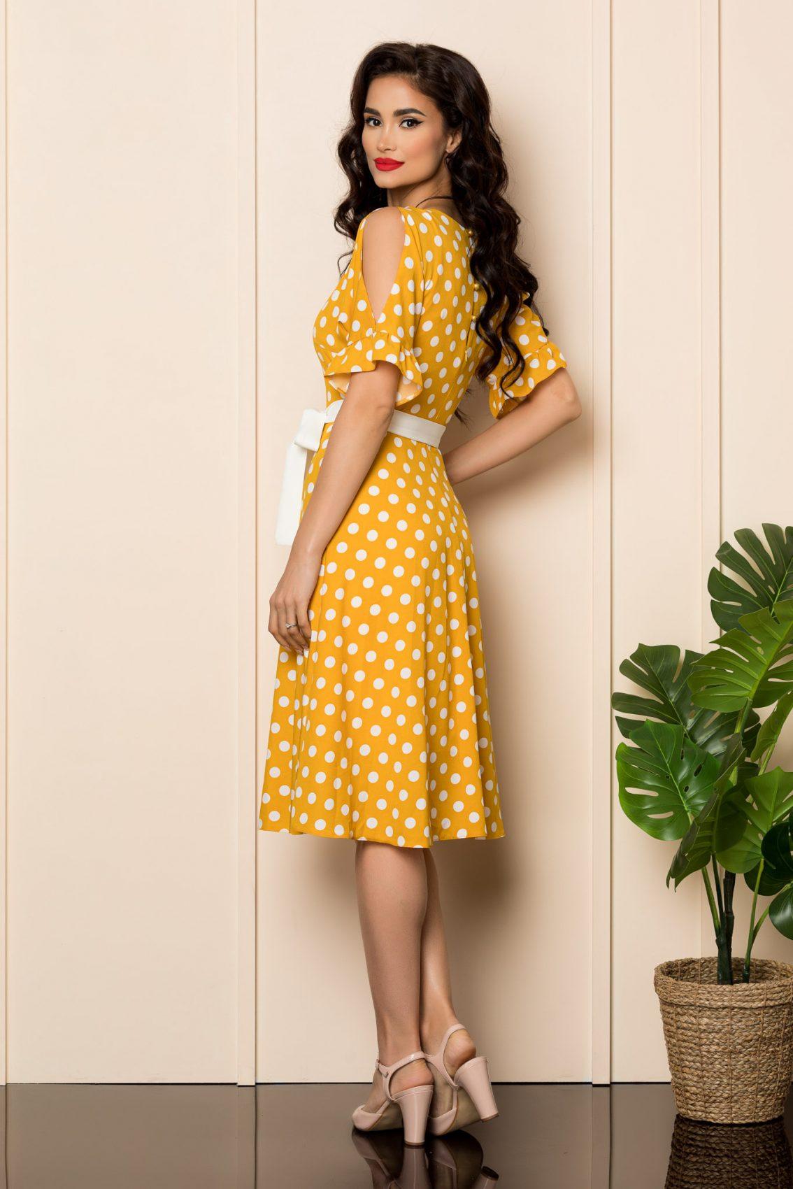 Κίτρινο Πουά Φόρεμα Eden A465 2