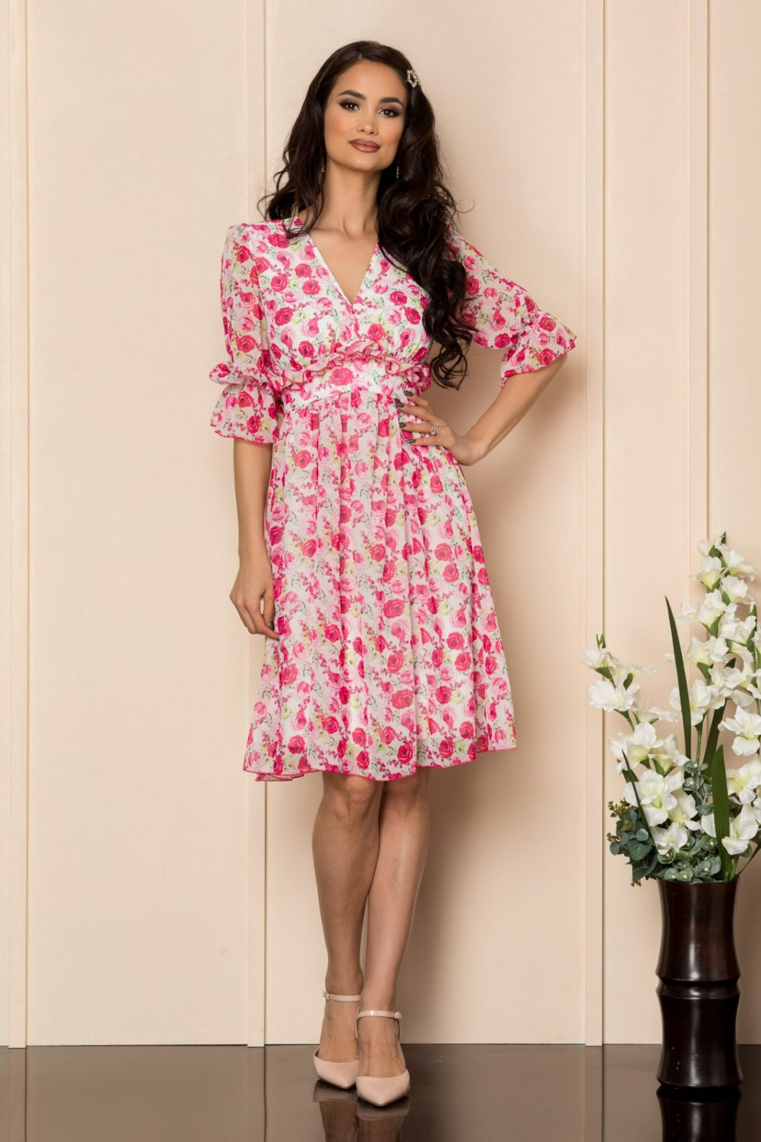 Φούξια Φλοράλ Φόρεμα Με Βολάν Floris A398 1