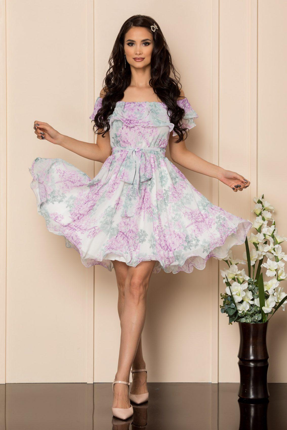 Λιλά Εμπριμέ Φόρεμα Beatrice A426 1