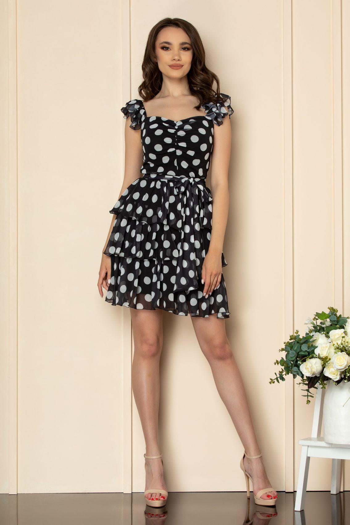 Μαύρο Πουά Φόρεμα Με Βολάν Dalya A533 2