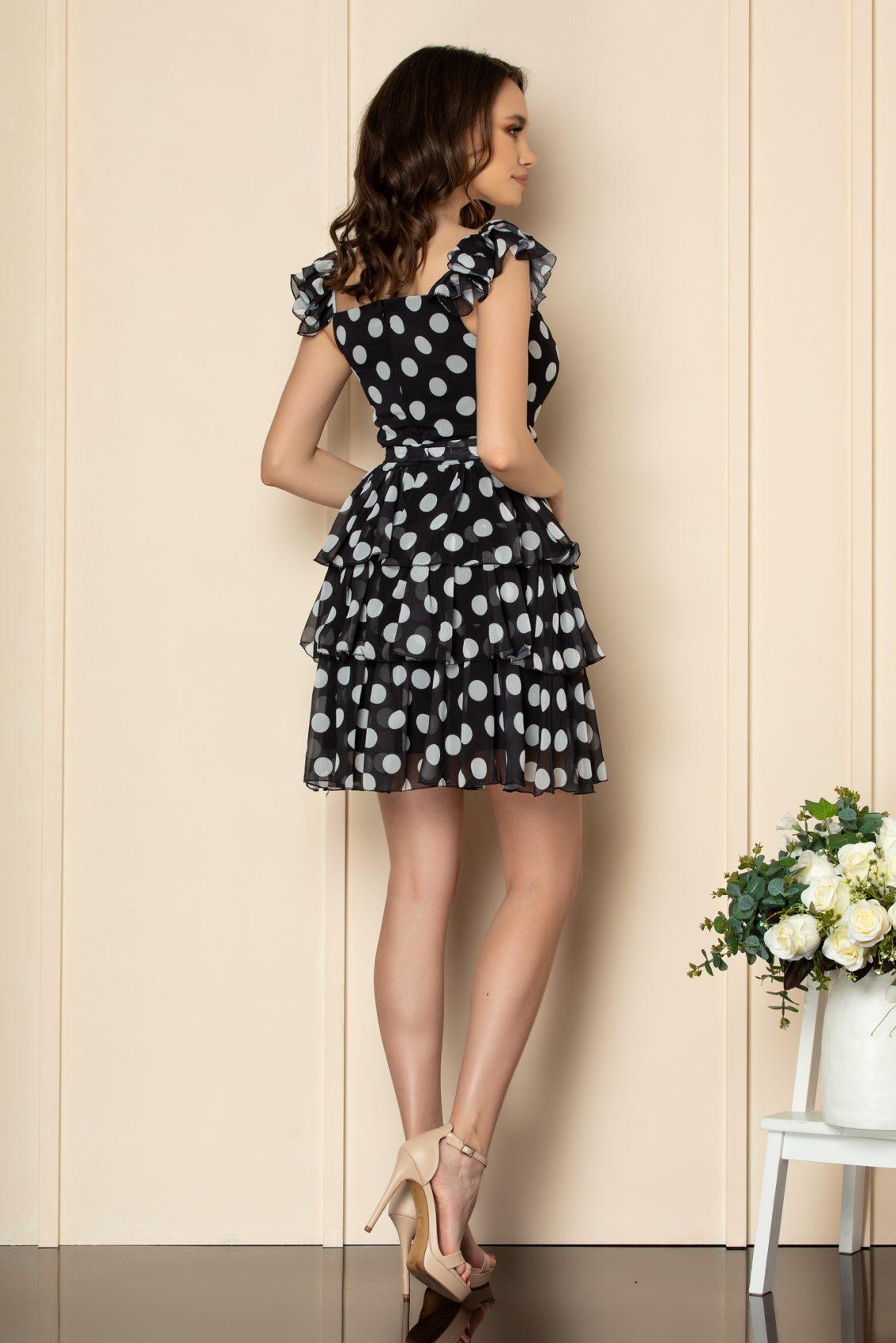 Μαύρο Πουά Φόρεμα Με Βολάν Dalya A533 3