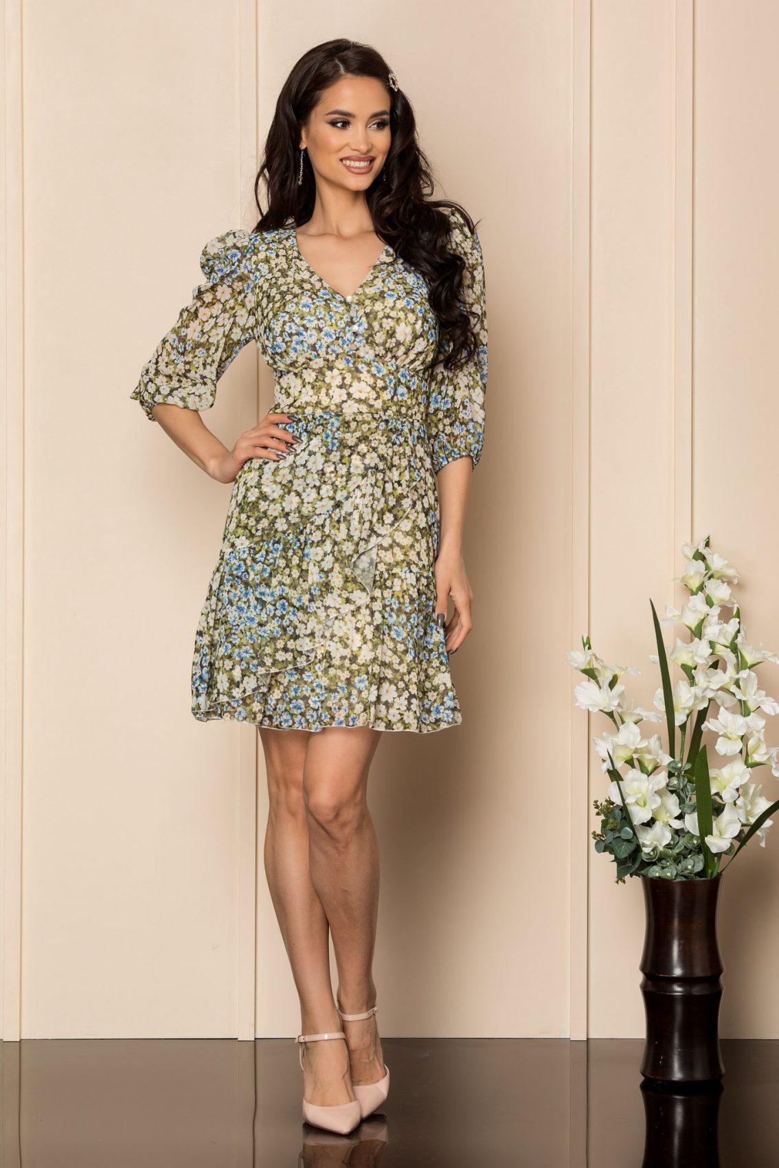 Πράσινο Εμπριμέ Φόρεμα Stacey A423 1