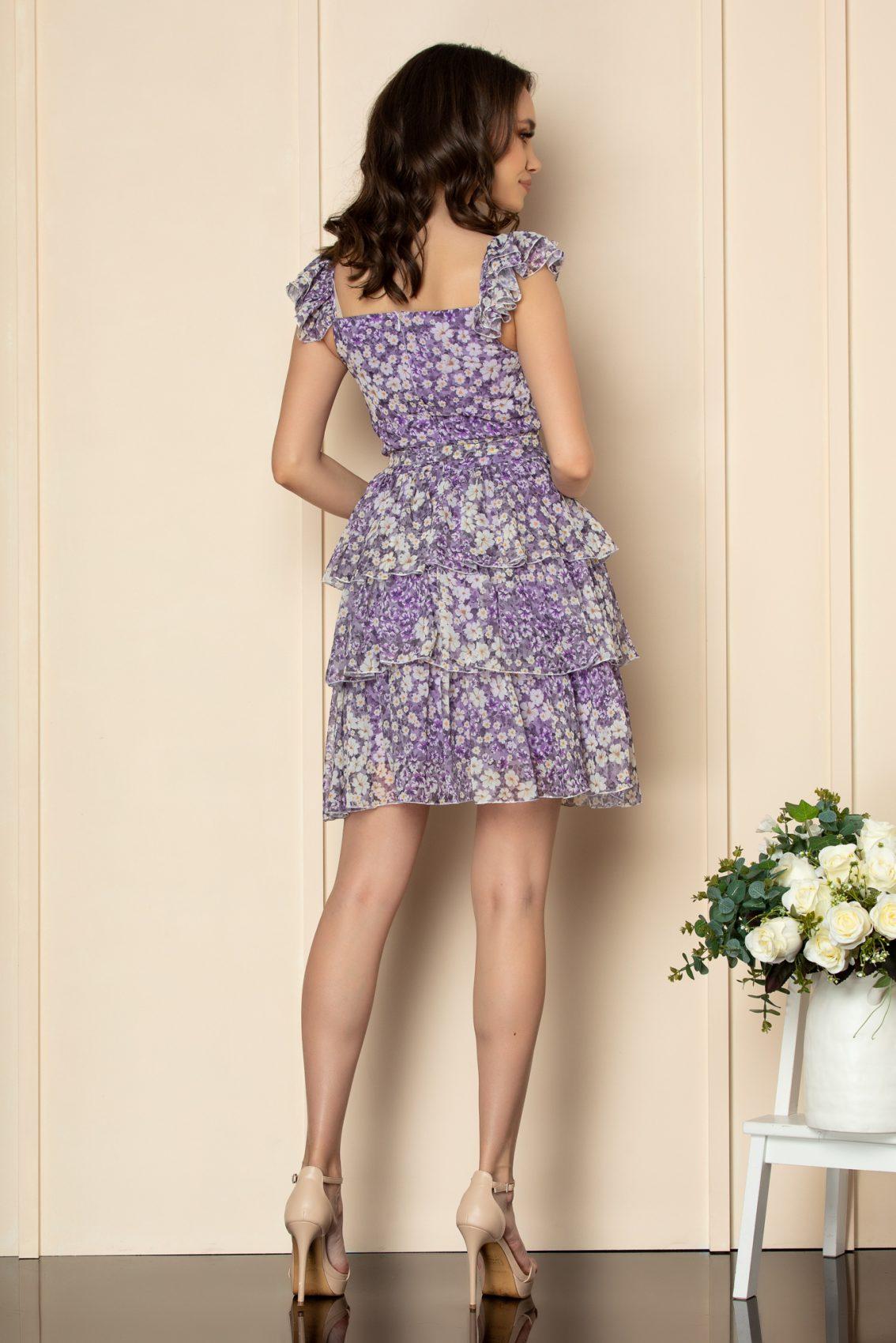 Λιλά Φλοράλ Φόρεμα Με Βολάν Dalya A532 2