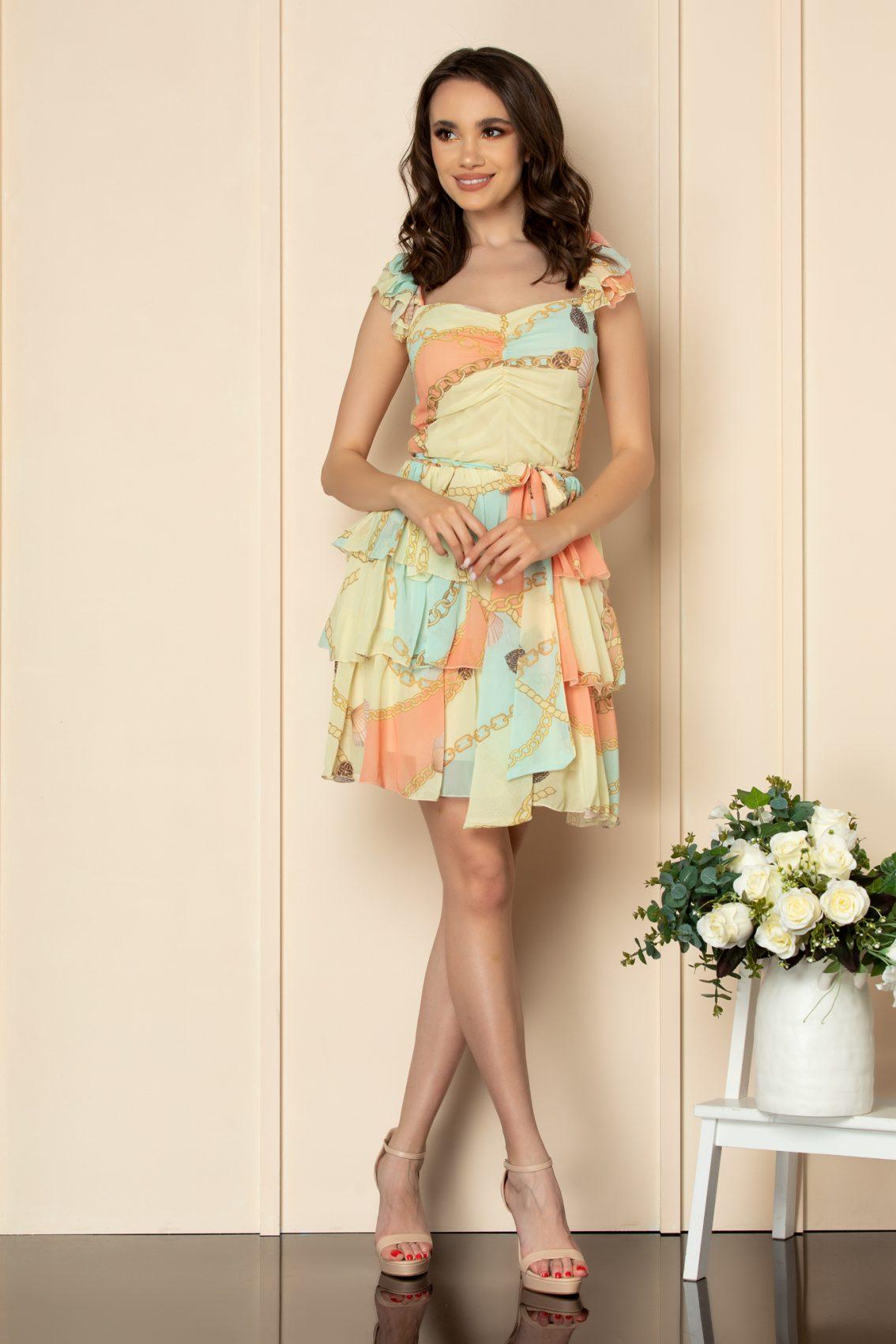 Εμπριμέ Κίτρινο Φόρεμα Με Βολάν Dalya A534 1