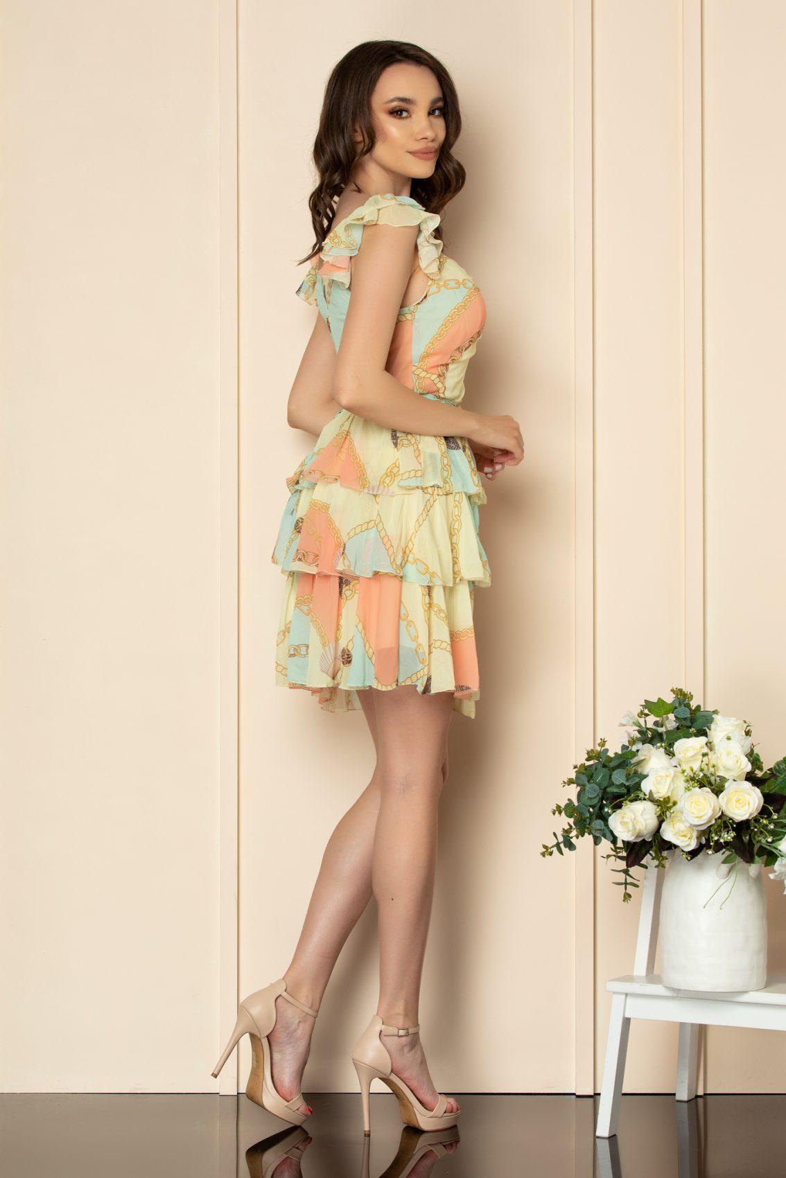 Εμπριμέ Κίτρινο Φόρεμα Με Βολάν Dalya A534 2