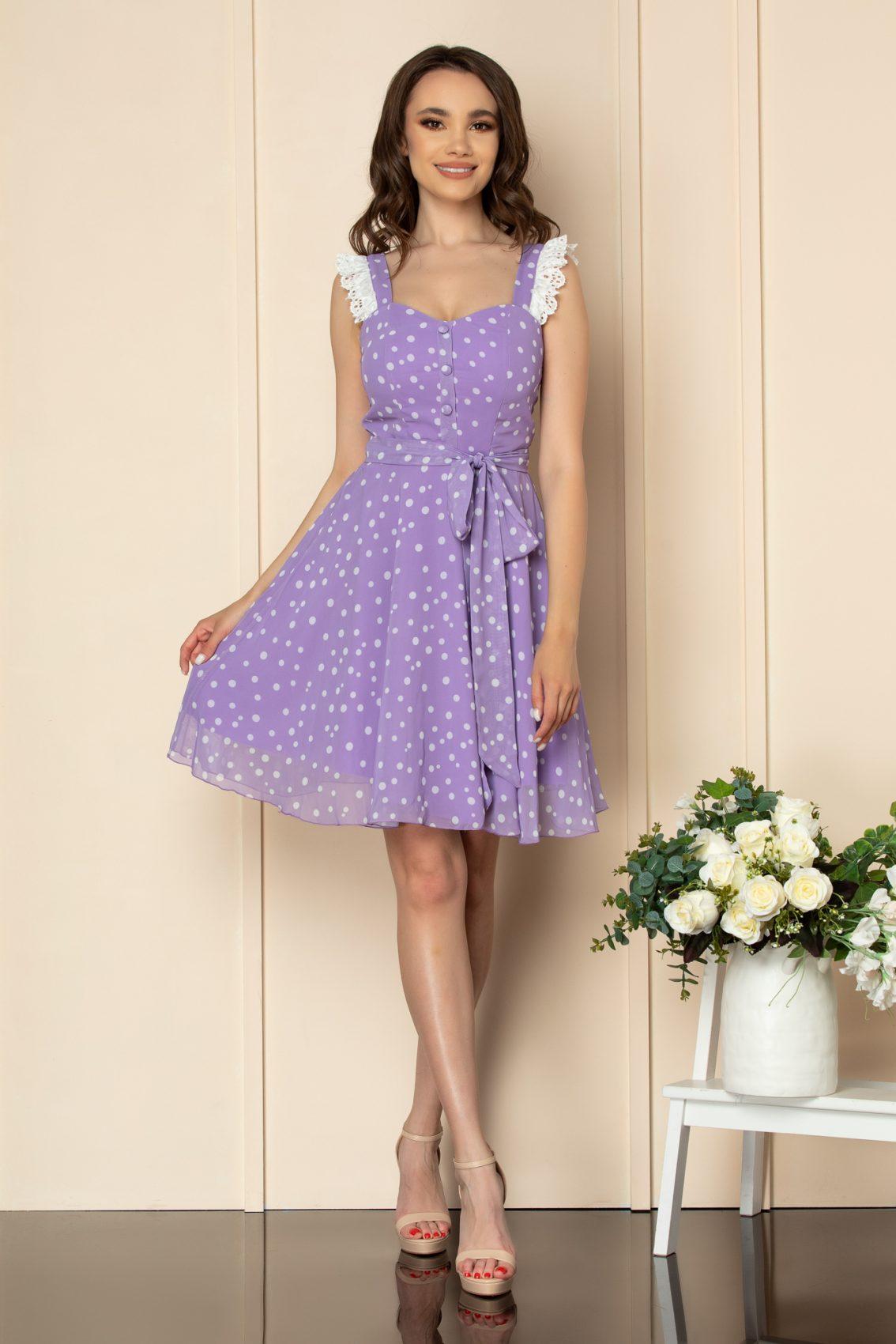 Λιλά Πουά Φόρεμα Με Δαντέλα Freya A538 2