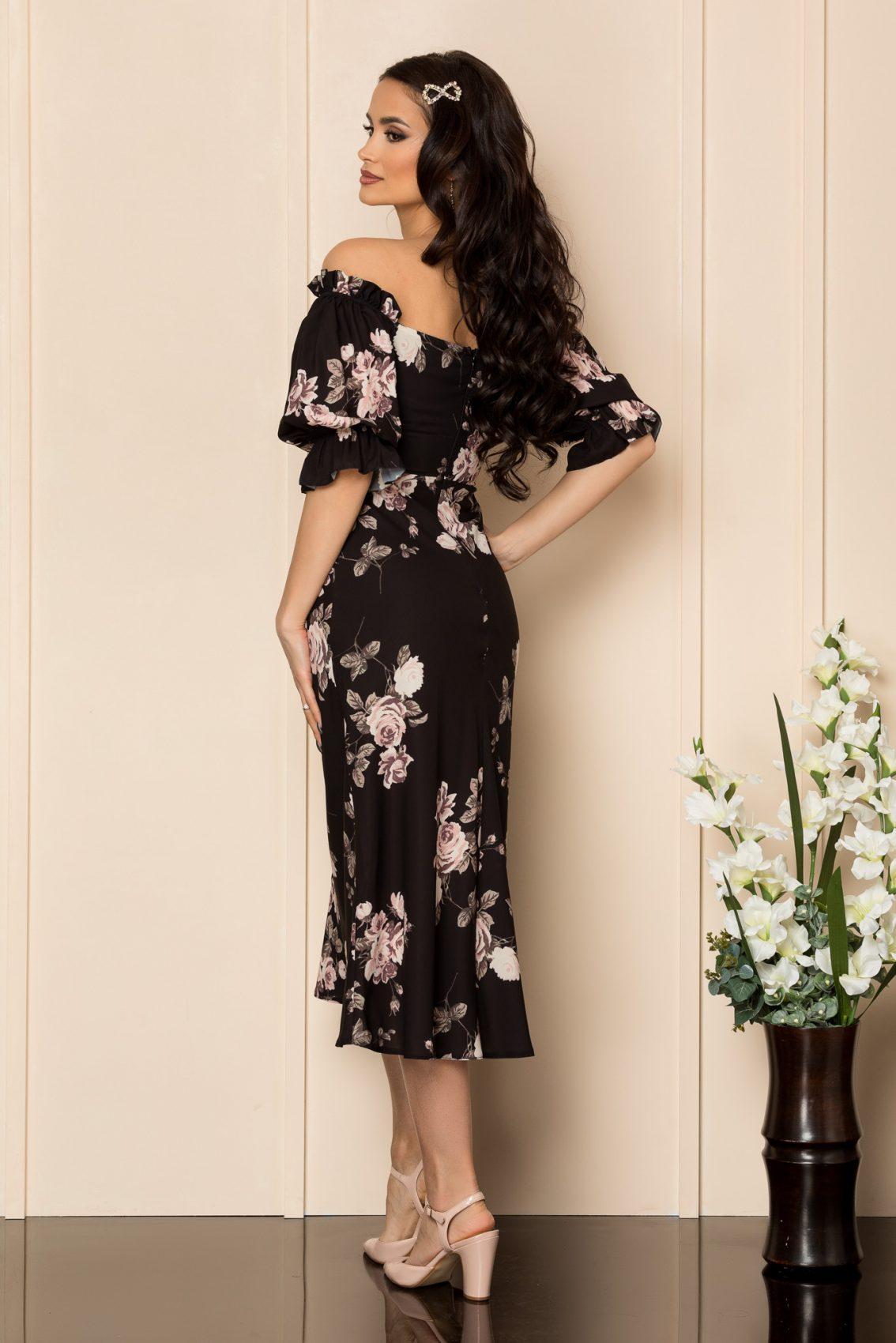 Μαύρο Φλοράλ Μίντι Φόρεμα Whitney A362 2