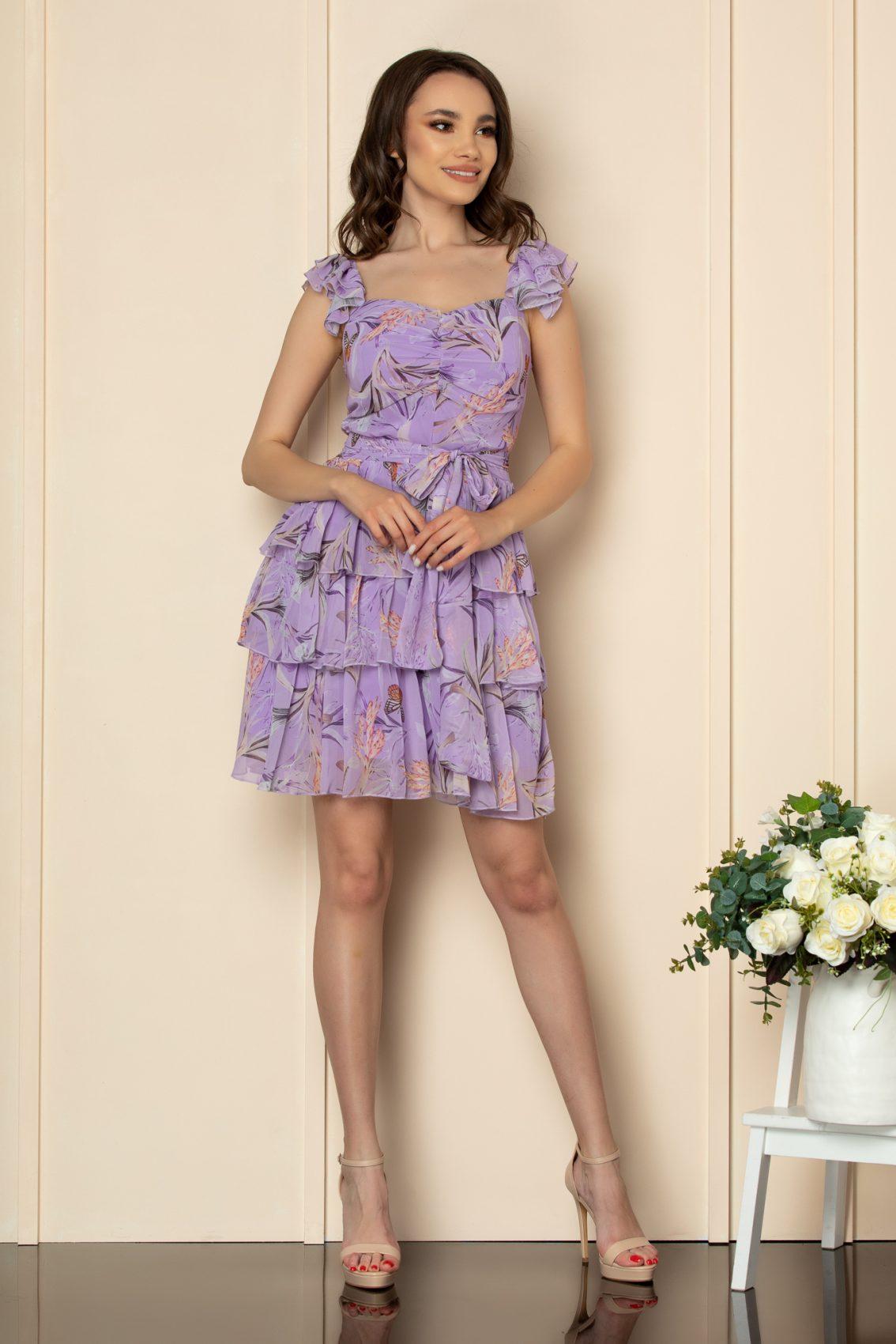 Λιλά Εμπριμέ Φόρεμα Με Βολάν Dalya A530 1