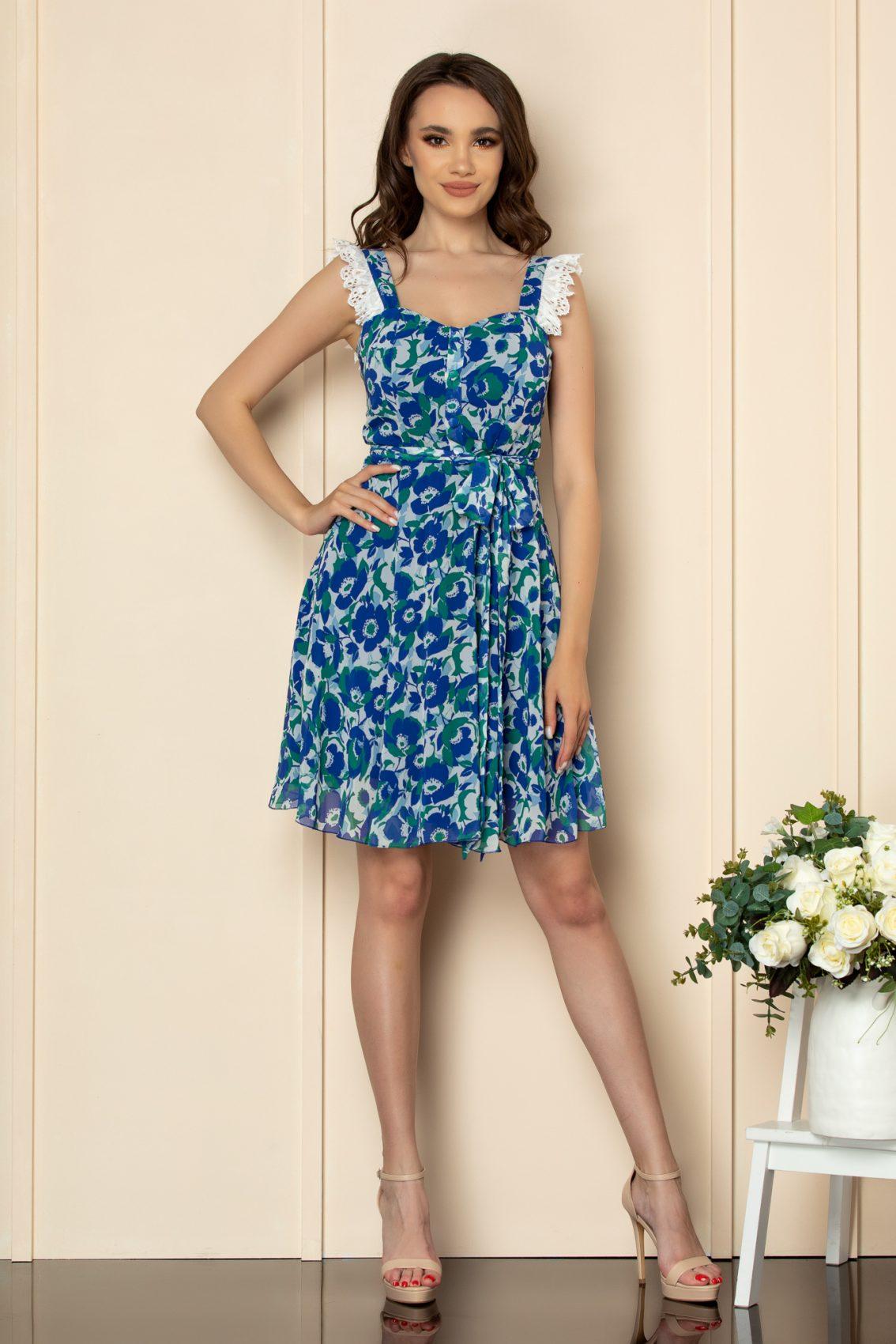 Μπλε Εμπριμέ Φόρεμα Με Δαντέλα Freya A537 2