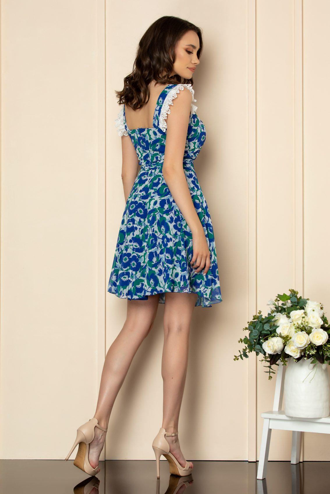 Μπλε Εμπριμέ Φόρεμα Με Δαντέλα Freya A537 3