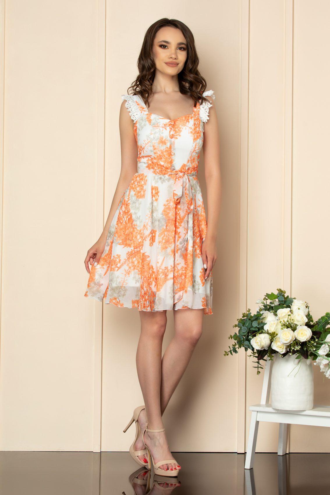 Πορτοκαλί Φόρεμα Με Δαντέλα Freya A540 1
