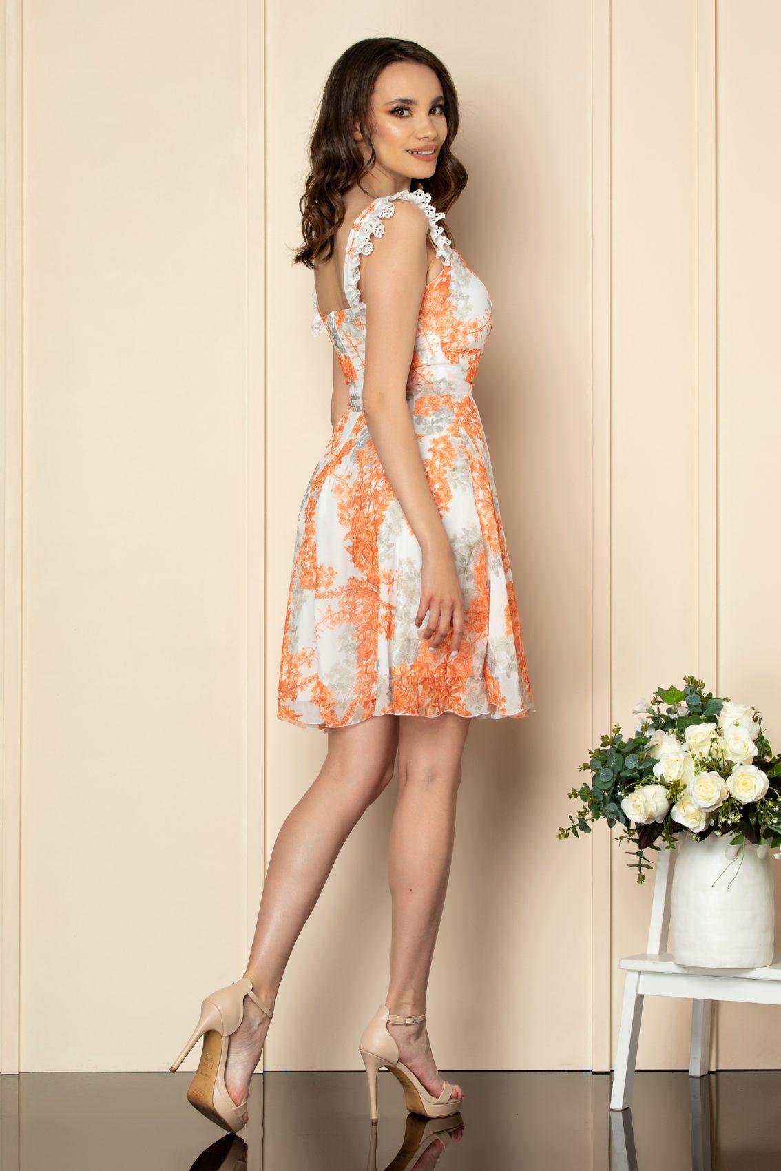 Πορτοκαλί Φόρεμα Με Δαντέλα Freya A540 3
