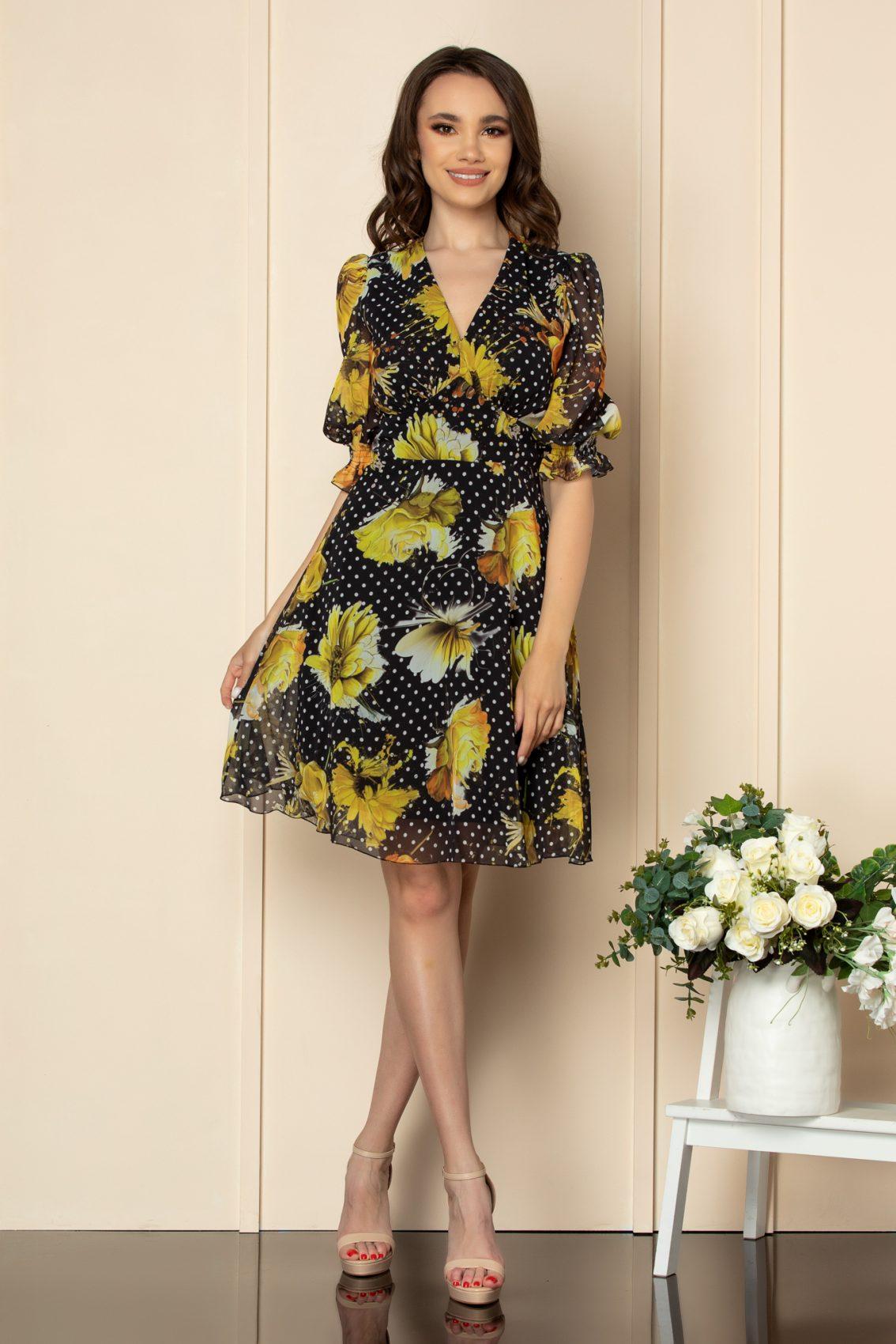 Μαύρο Εμπριμέ Κοντομάνικο Φόρεμα Fabia A559 1