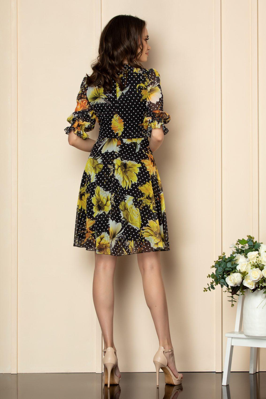 Μαύρο Εμπριμέ Κοντομάνικο Φόρεμα Fabia A559 2