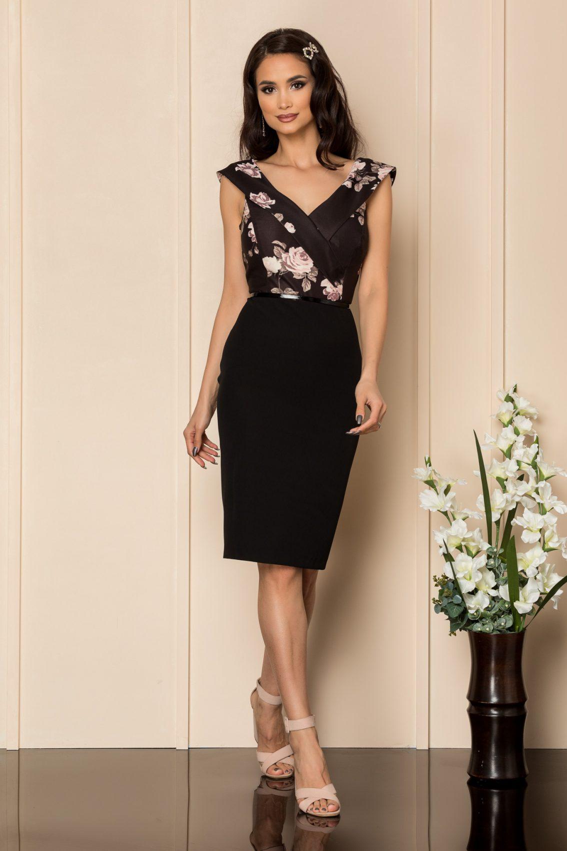 Μαύρο Φόρεμα Με Σομόν Λουλούδια Carlia A401 1