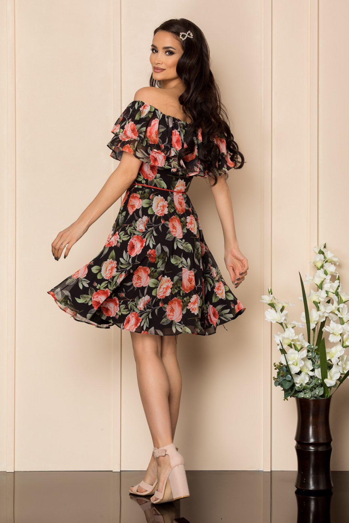 Μαύρο Φλοράλ Φόρεμα Με Βολάν Jasmine A422 2