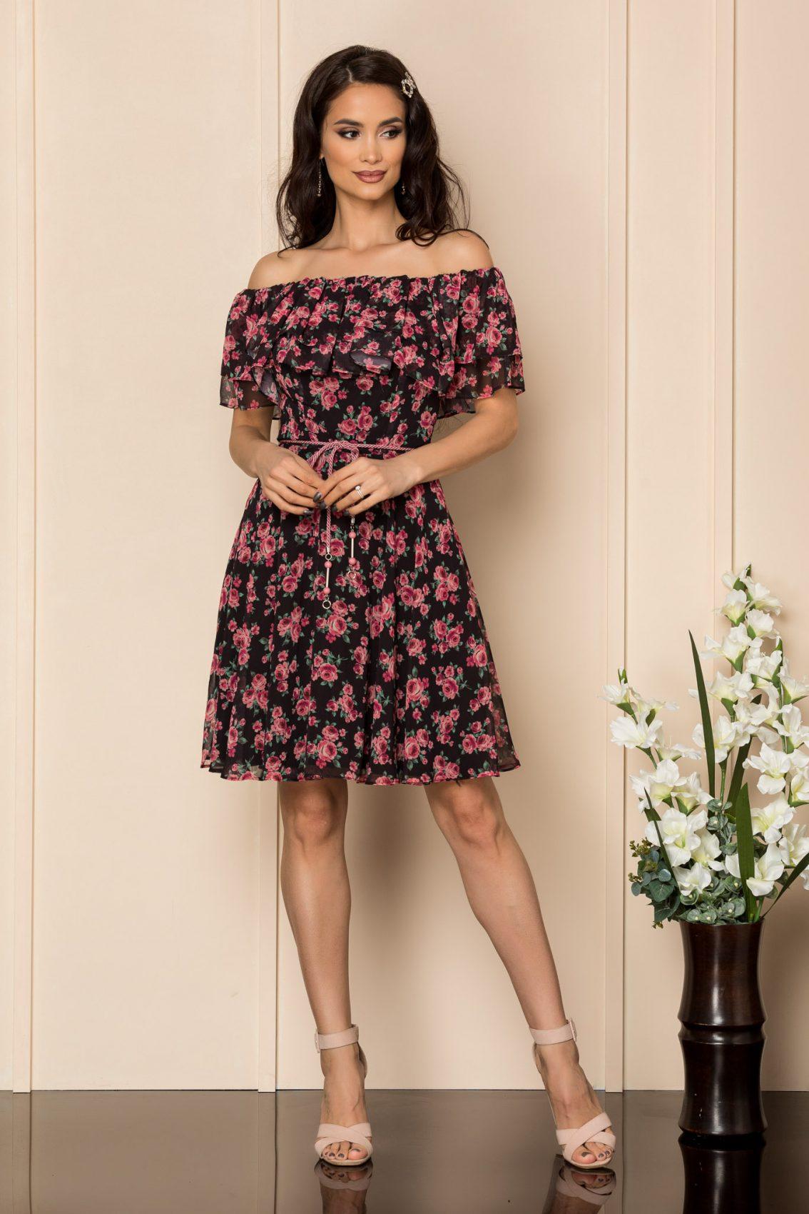 Μαύρο Εμπριμέ Φόρεμα Με Βολάν Jasmine A420 1