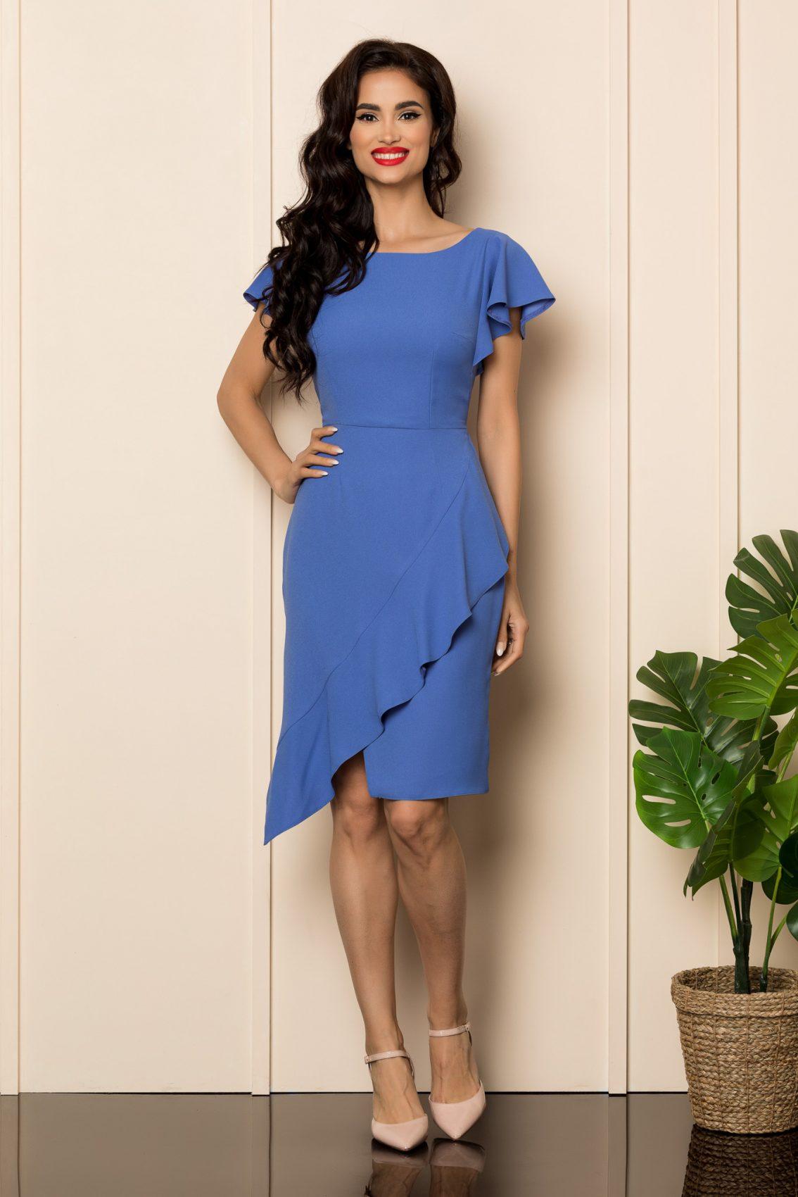 Μπλε Φόρεμα Με Βολάν Everly A452 1