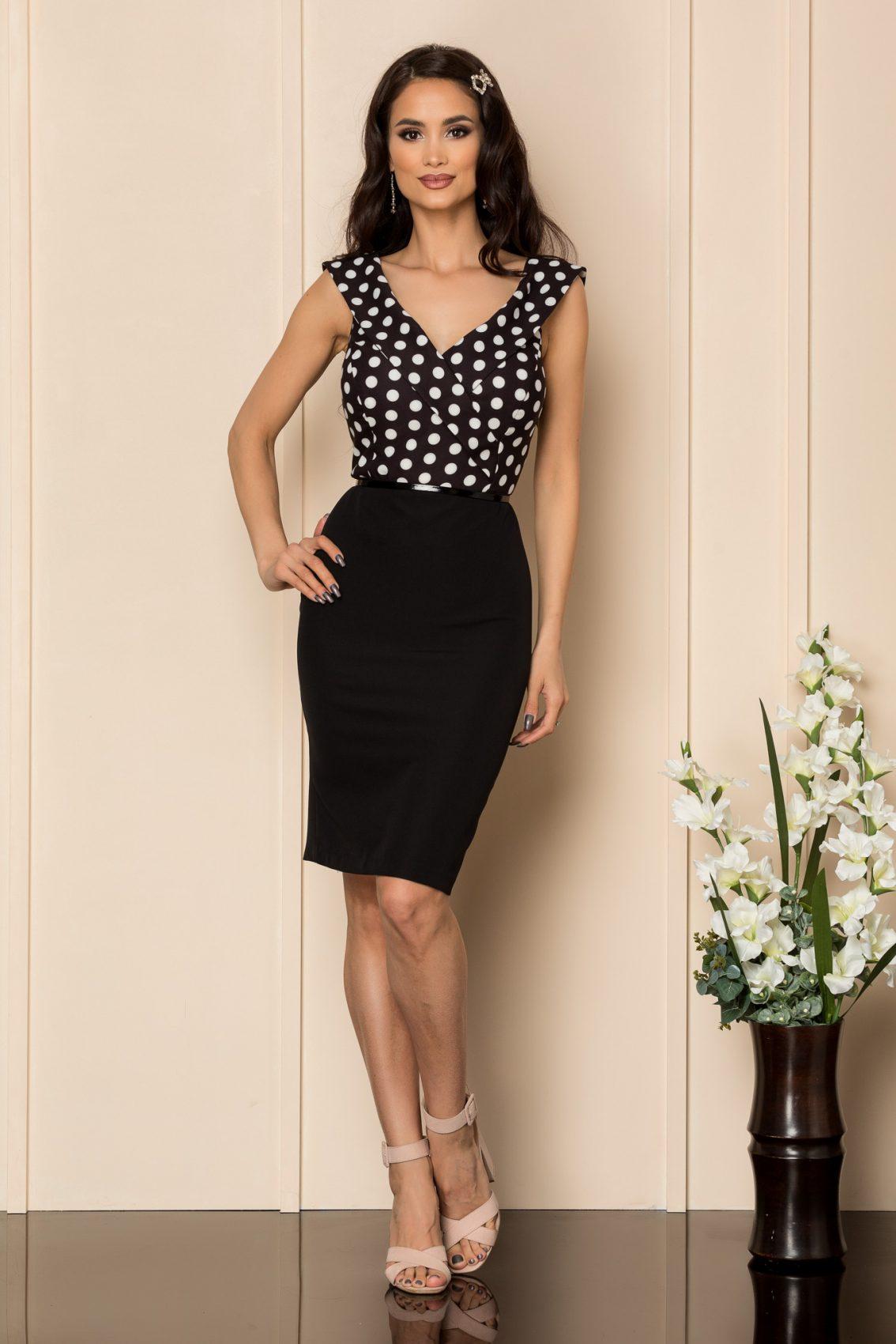 Μαύρο Πουά Φόρεμα Με Ζώνη Carlia A402 1