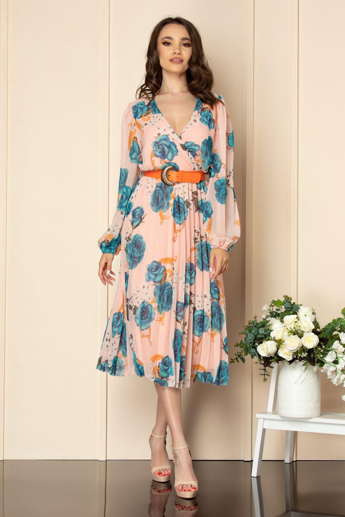 Ροδακινί Κρουαζέ Φόρεμα Ingrid A564 1
