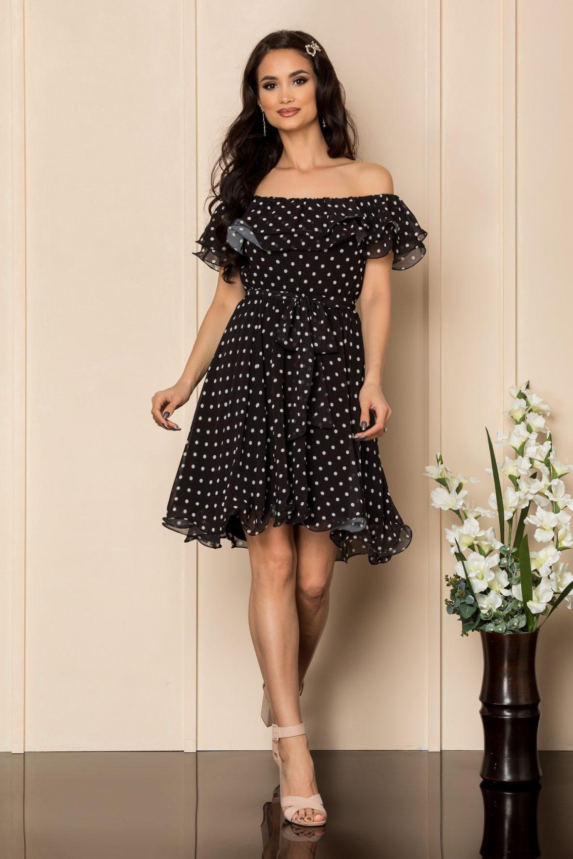 Μαύρο Πουά Φόρεμα Beatrice A425 1