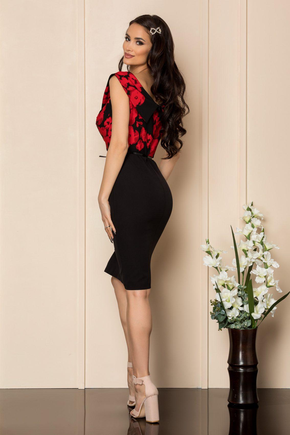 Μαύρο Φόρεμα Με Κόκκινα Λουλούδια Carlia A403 2
